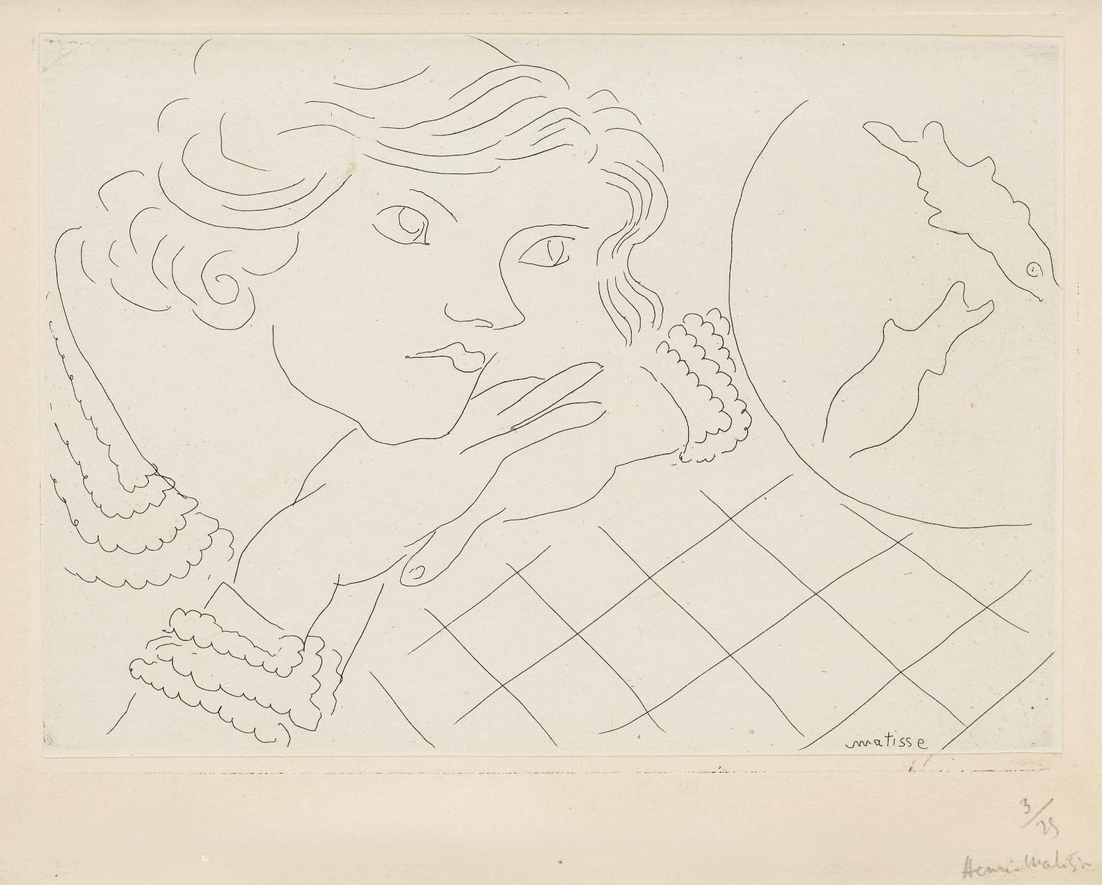 Henri Matisse-Jeune Femme, Poissons Rouge Et Nappe A Carreaux (D. 176)-1929