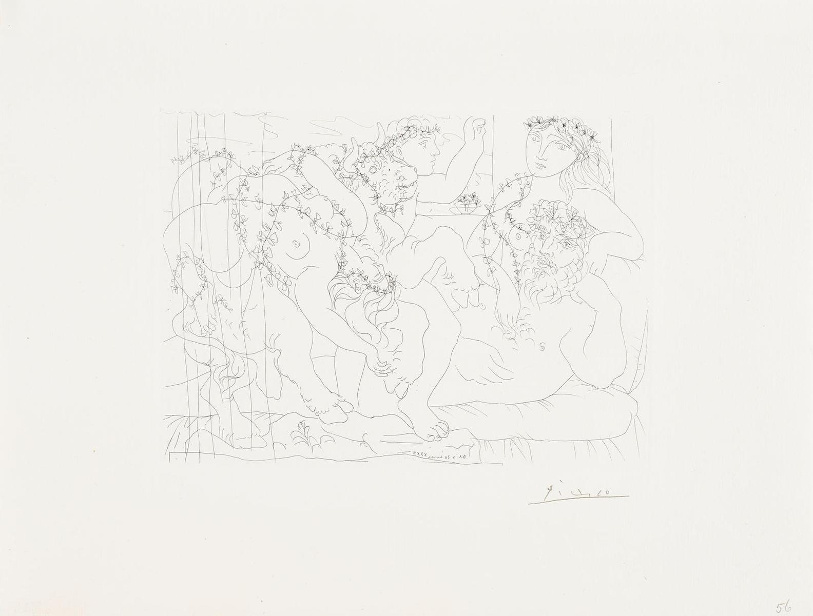Pablo Picasso-Le Repos Du Sculpteur Devant Une Bacchanale Au Taureau; From La Suite Vollard (B. 165; Ba. 318)-1933