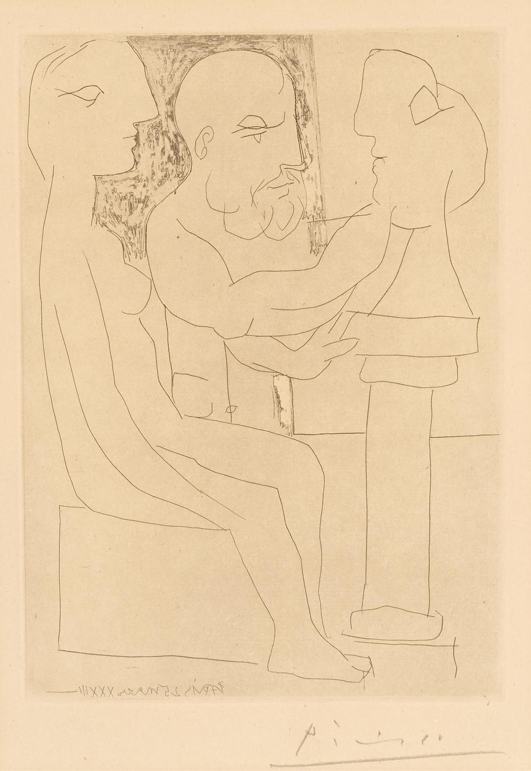 Pablo Picasso-Vieux Sculpteur Au Travail, Plate 47 From La Suite Vollard (B. 153; Ba. 305)-1933