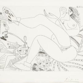 Pablo Picasso-Fumeur Dopium, Femme En Pantoufles Sur Son Lit Et Petit Chien (From La Serie 347) (B. 1764; Ba.1781)-1968