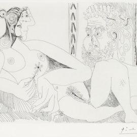 Pablo Picasso-Femme Aux Fleurs Et Portrait De Barbu, Avec Degas De Profil (From Series 156)  (B. 1959; Ba. 1968)-1971