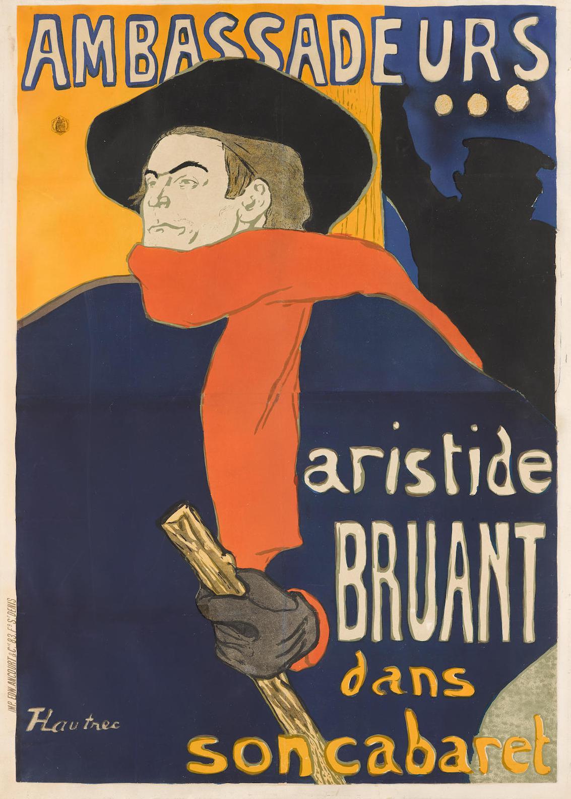 Henri de Toulouse-Lautrec-Ambassadeurs, Aristide Bruant (W. P4; D. 343; Adr. 6)-1892