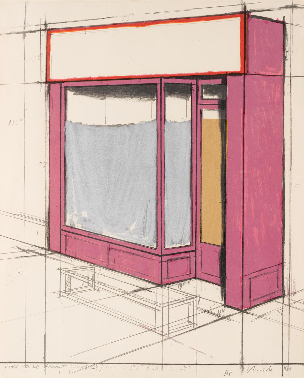 Christo and Jeanne-Claude-Pink Store Front, Project (S. & B. 105)-1980
