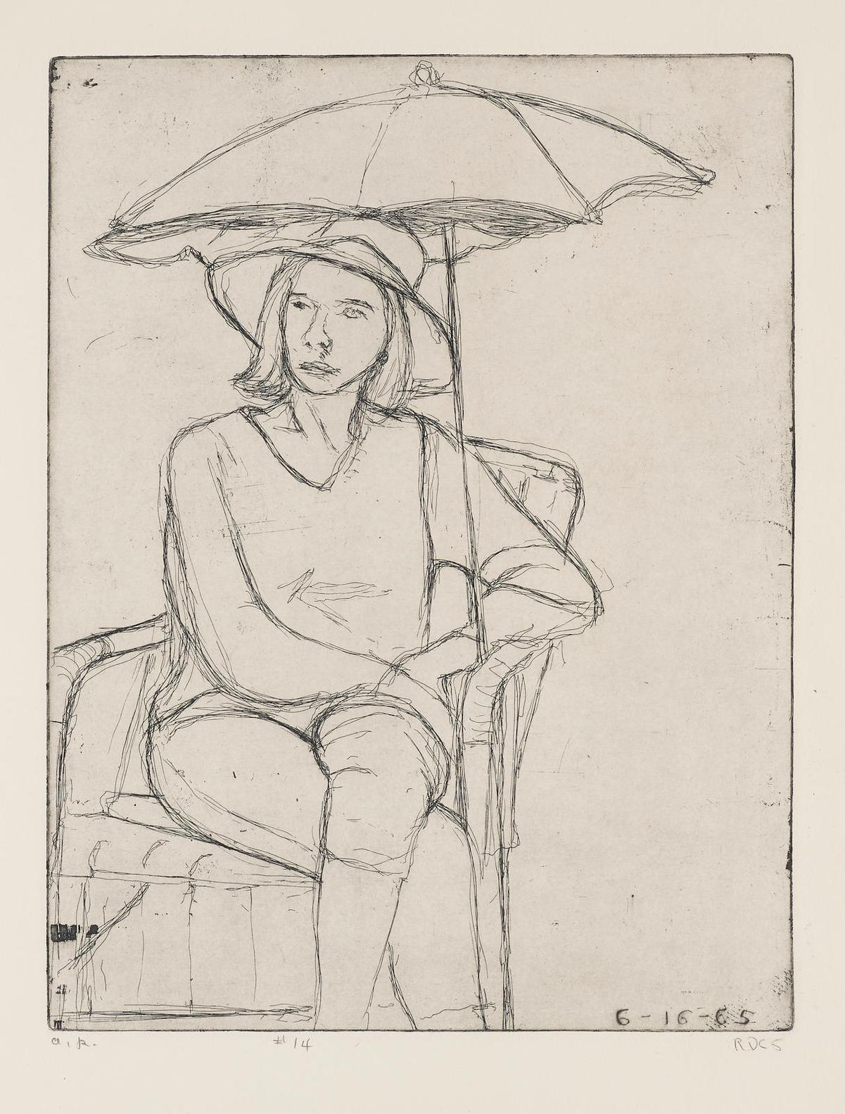 Richard Diebenkorn-#14 (Phyllis On The Patio), From 41 Etchings/Drypoints-1965