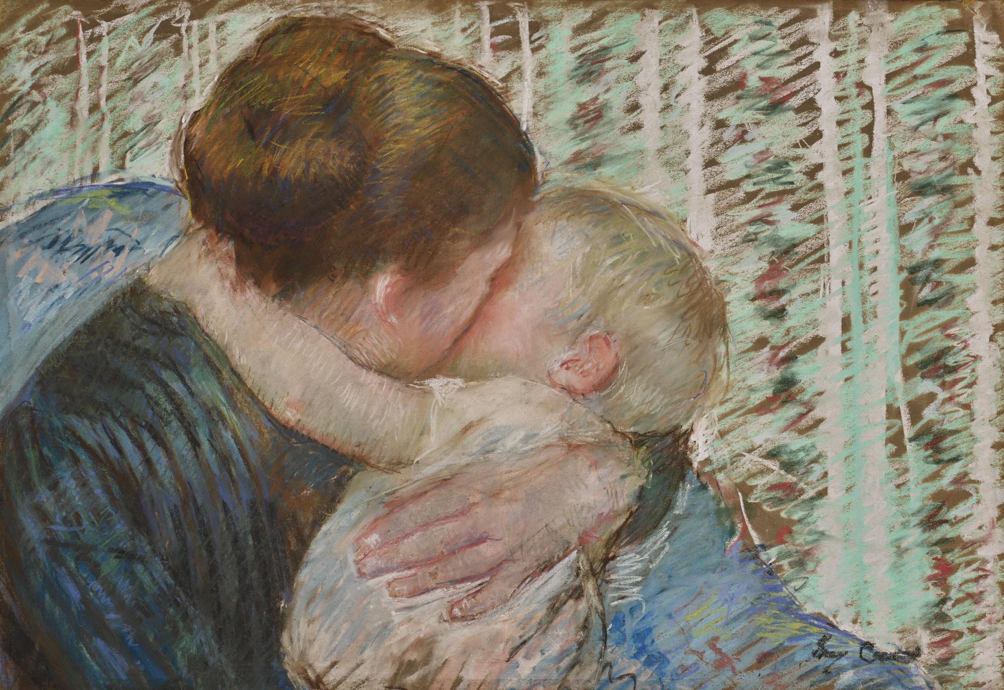 Mary Cassatt-A Goodnight Hug-1880