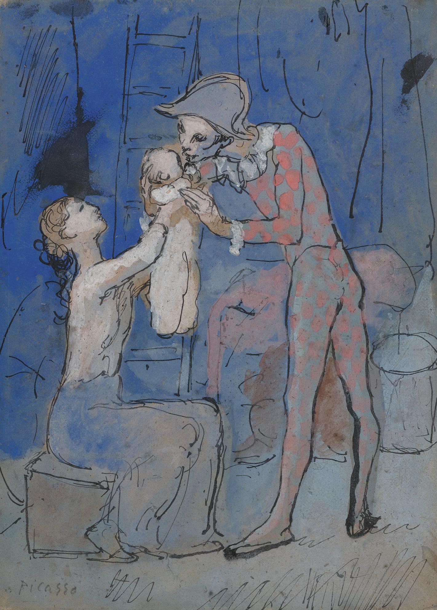 Pablo Picasso-Famille Darlequin-1905