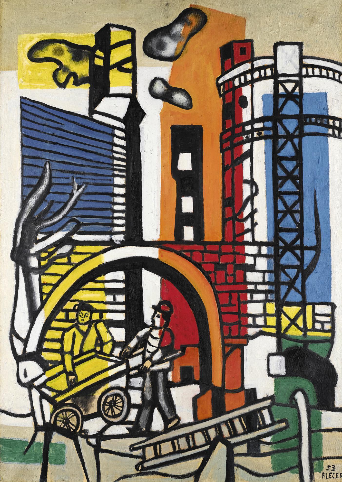 Fernand Leger-Une Voiture A Bras Dans Un Paysage-1953