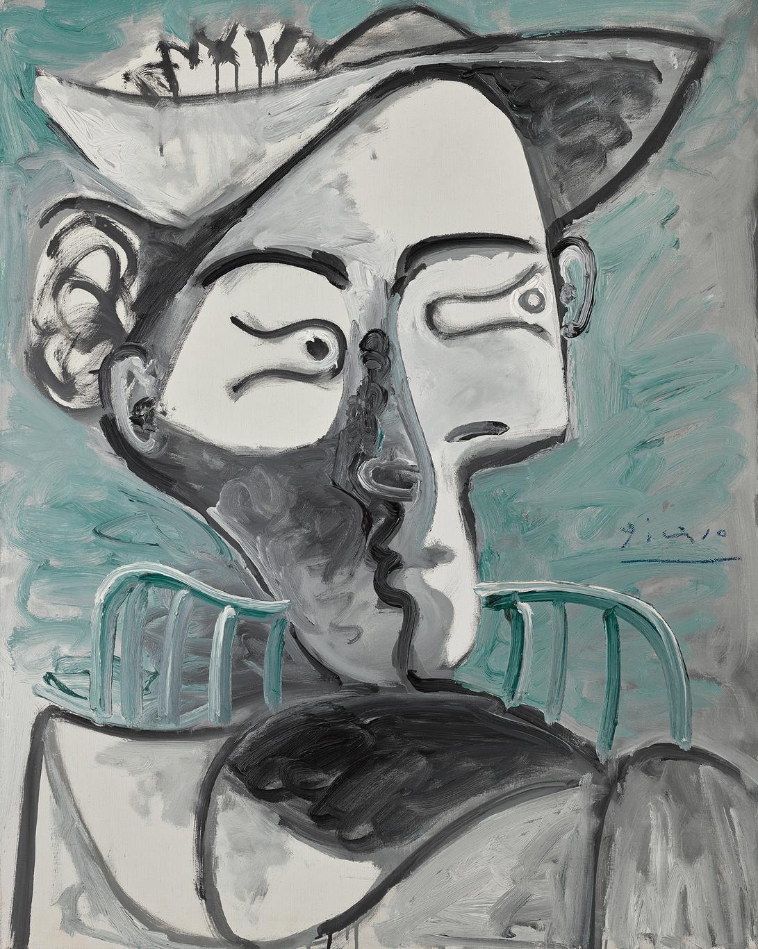 Pablo Picasso-Femme Au Chapeau Assise, Buste-1962