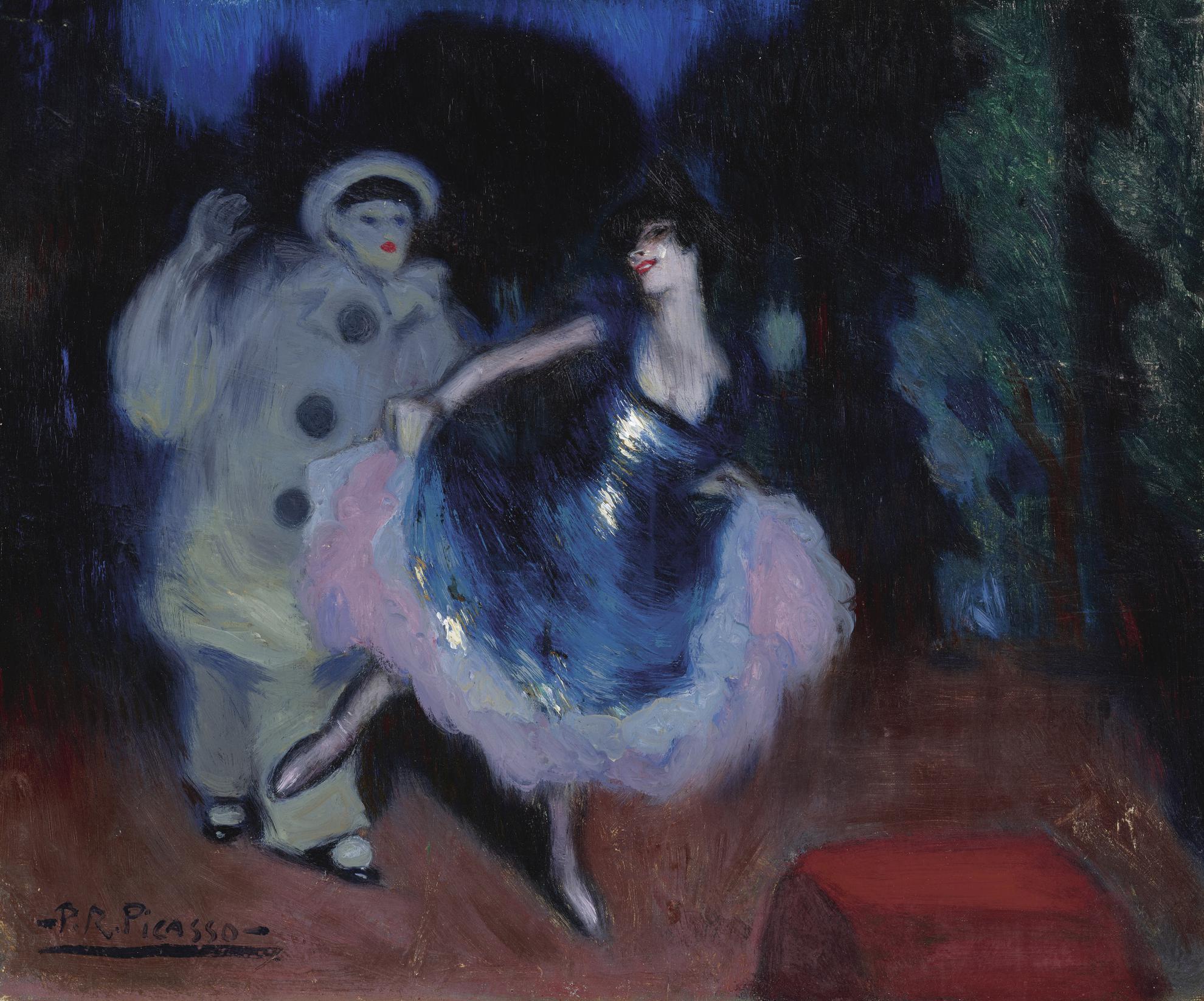 Pablo Picasso-Pierrot Et Danseuse (La Danseuse Bleue)-1900