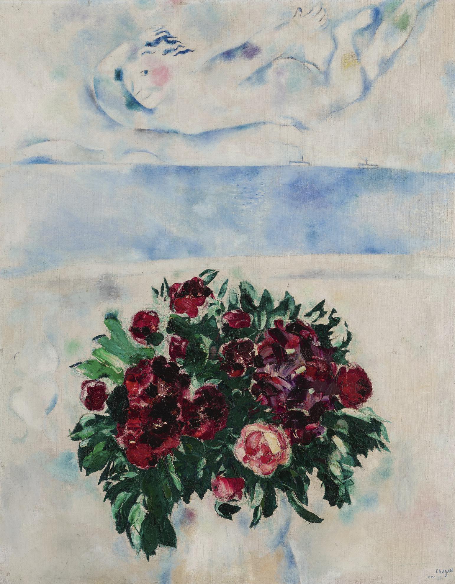 Marc Chagall-Lesprit De Roses (Au-Dessus Des Fleurs)-1926