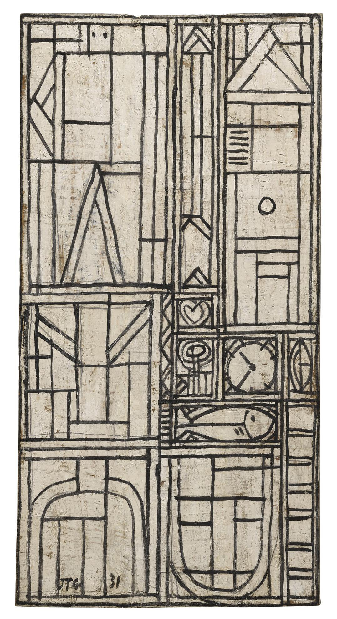 Joaquin Torres-Garcia-Constructivo En Blanco Y Negro Con Pez (Construction In White And Black With Fish)-1931
