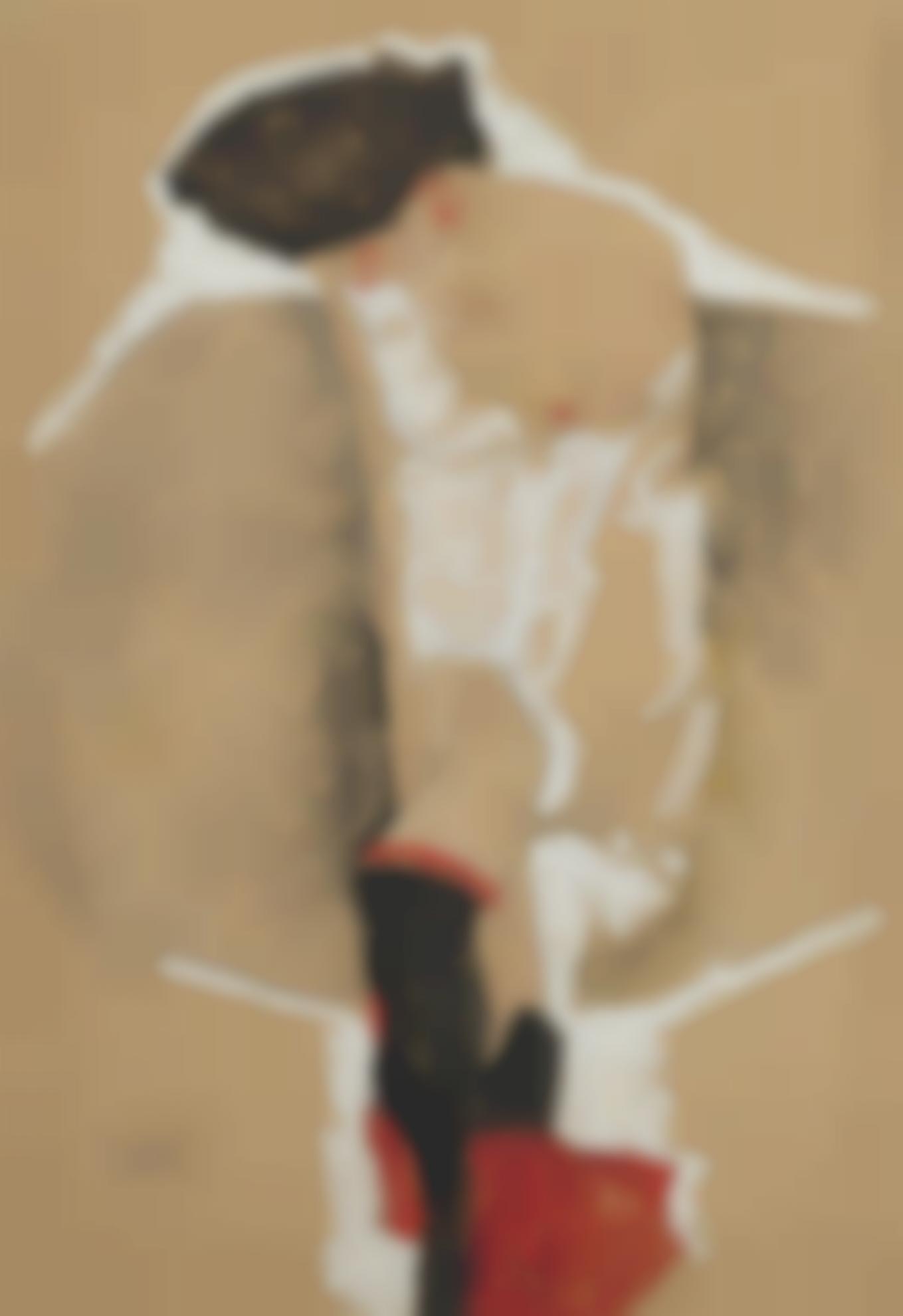 Egon Schiele-Stehendes Madchen Im Hemd, Mit Schwarzen Strumpfen Und Rotem Tuch (Standing Female In Shirt With Black Stockings And Red Scarf)-1911