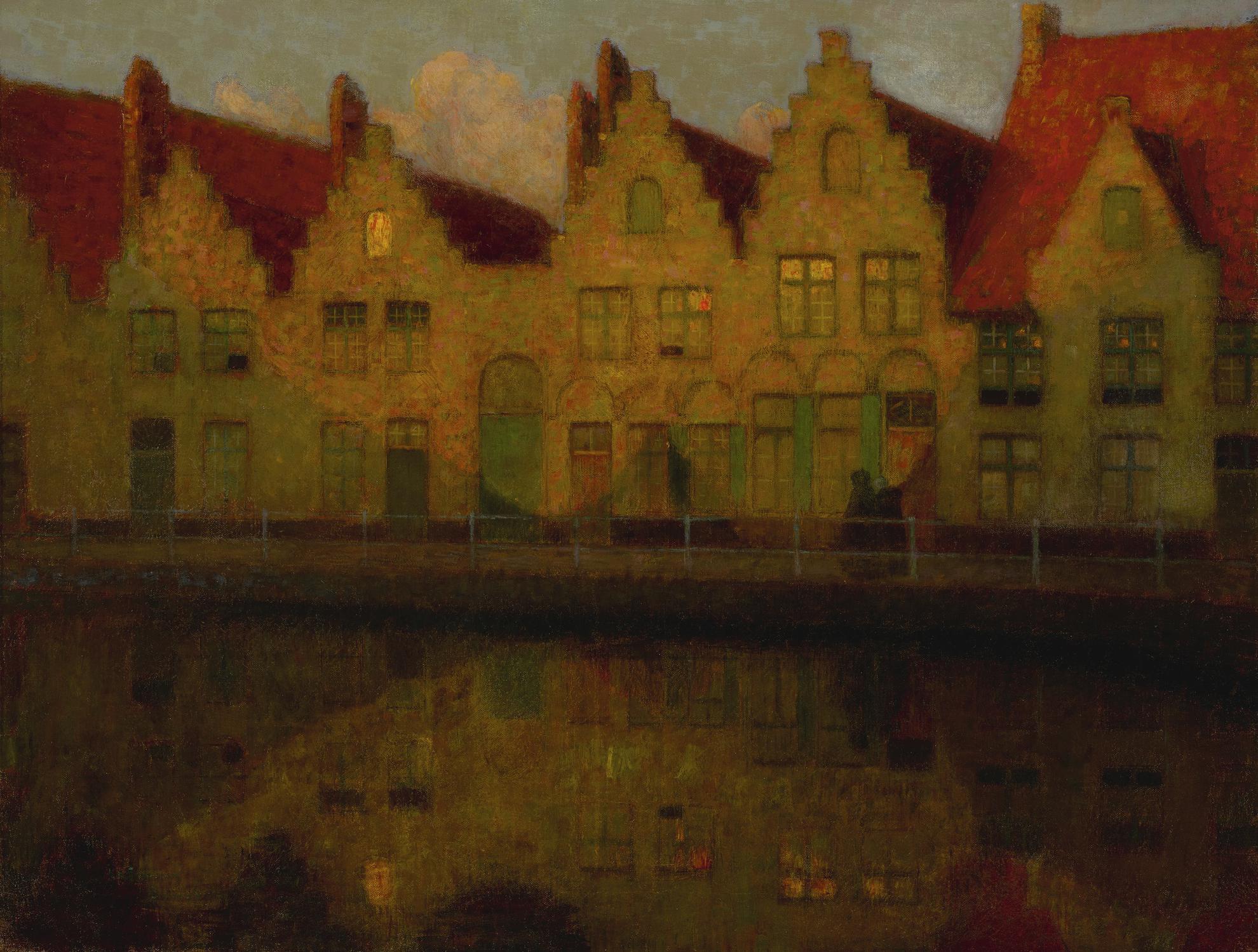 Henri Eugene Le Sidaner-Soleil Couchant Sur Les Maisons, Bruges-1899