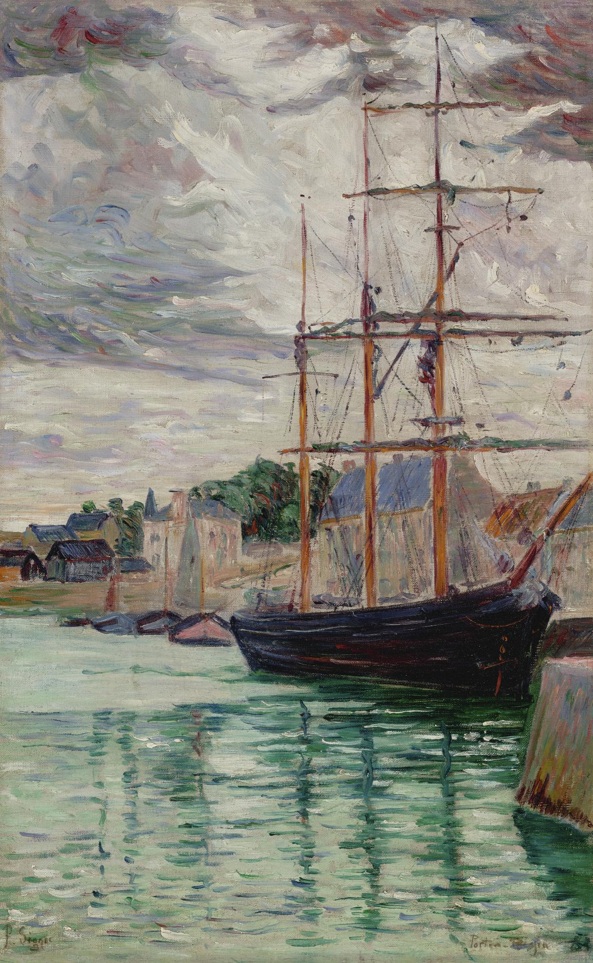 Paul Signac-Port-En-Bessin, Le Trois-Mats A Quai-1883