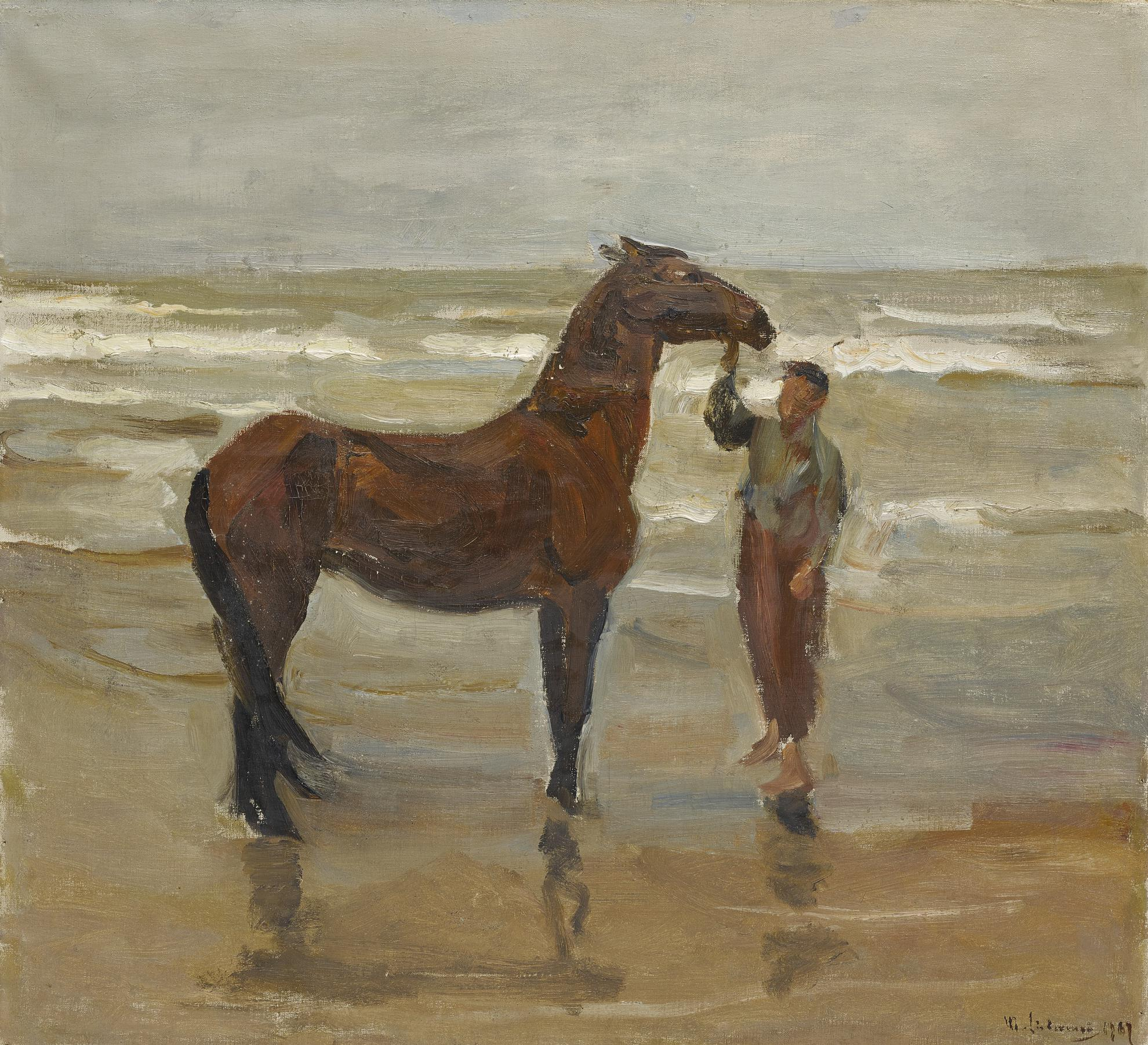 Max Liebermann-Junge Mit Pferd Am Strande (Boy With Horse On The Beach)-1907