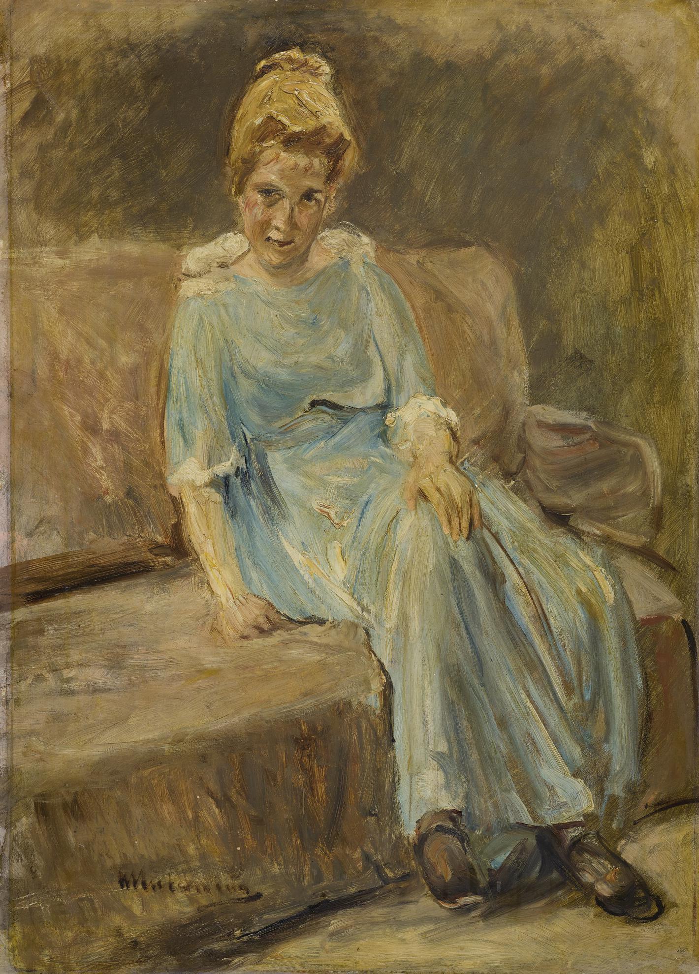 Max Liebermann-Damenbildnis In Blauem Kleid (Portrait Of A Woman In A Blue Dress)-1910