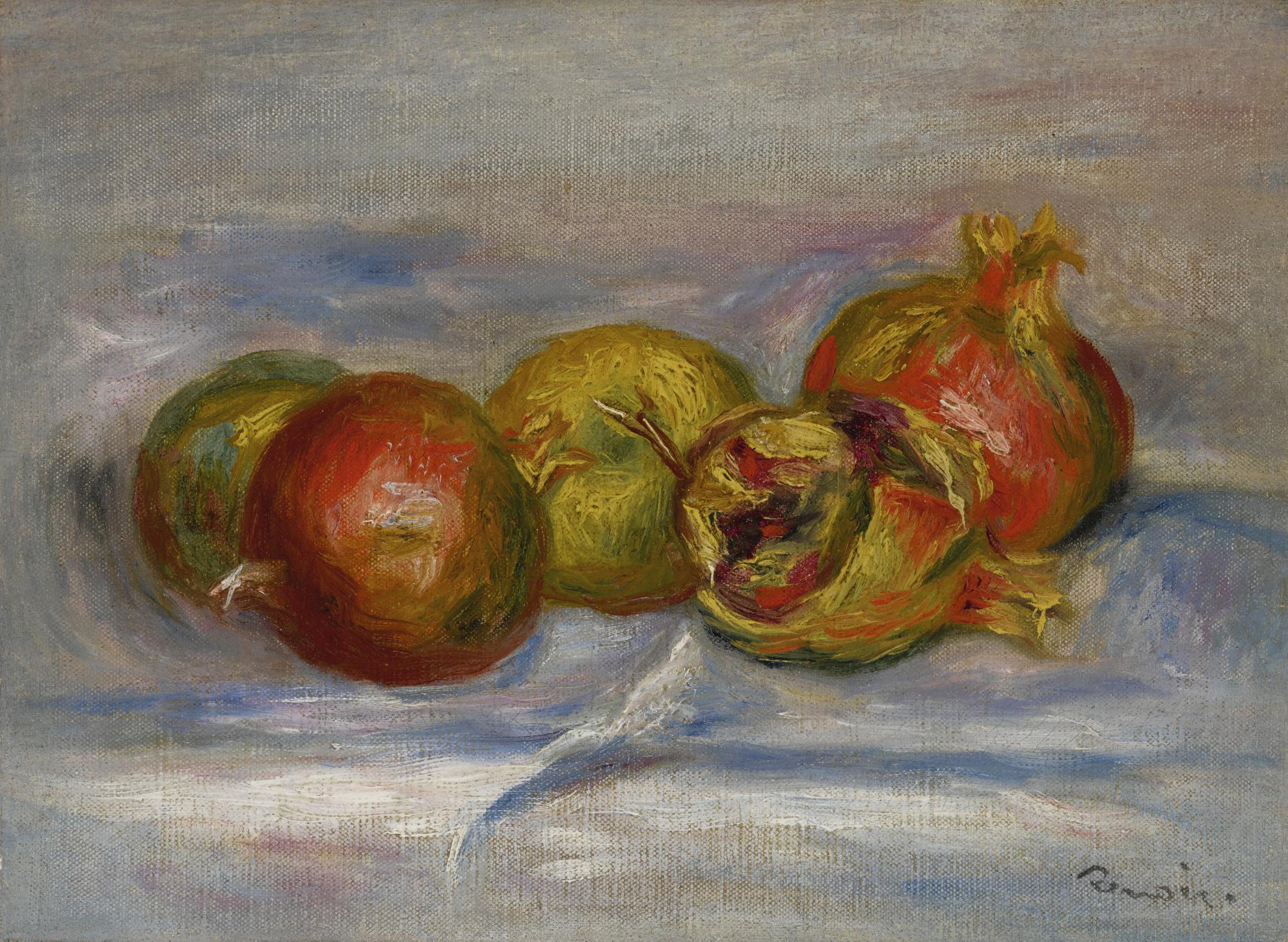 Pierre-Auguste Renoir-Nature Morte Aux Pommes Et Grenade-1910