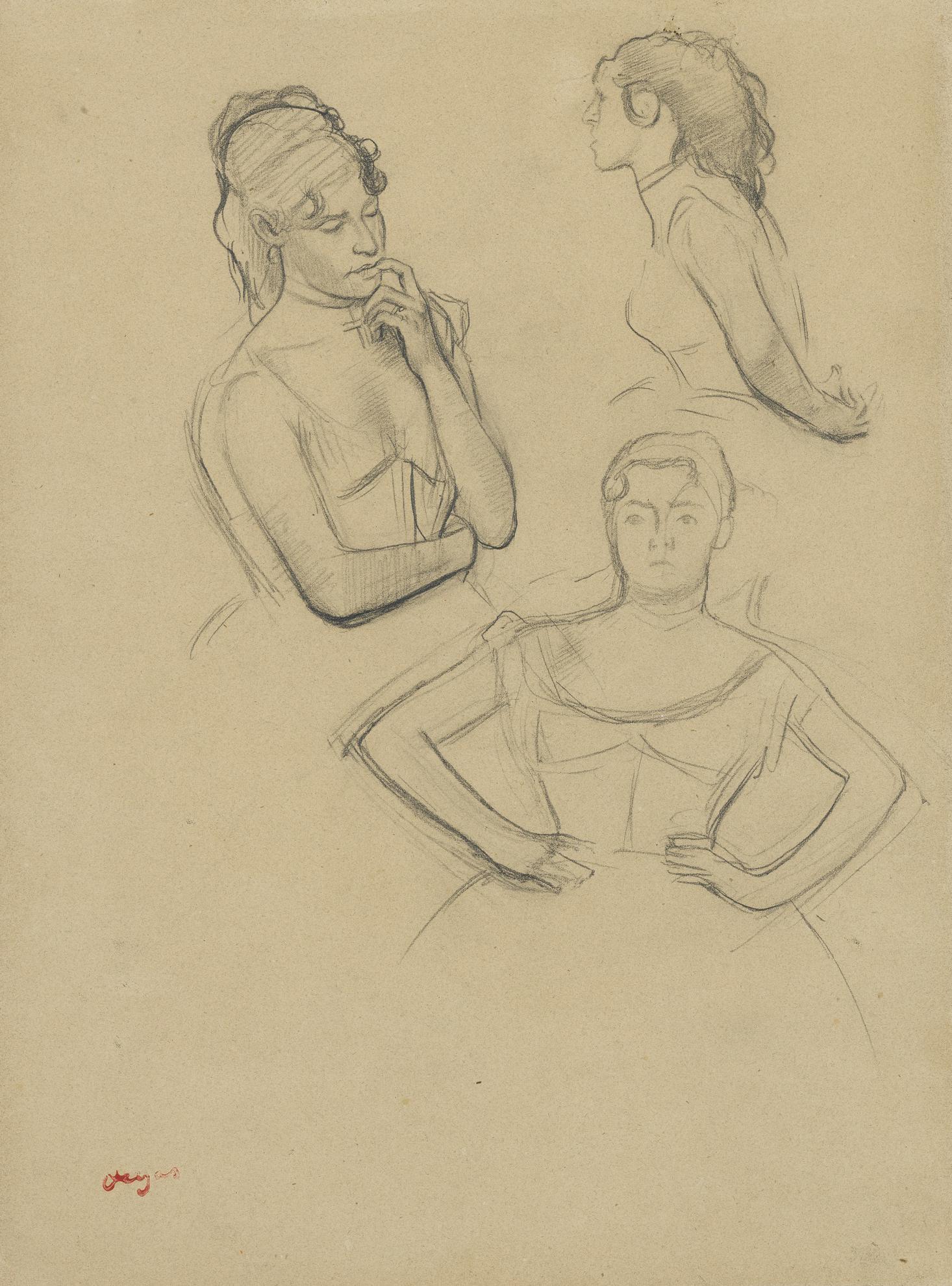 Edgar Degas-Danseuse (Buste), Trois Etudes-1874