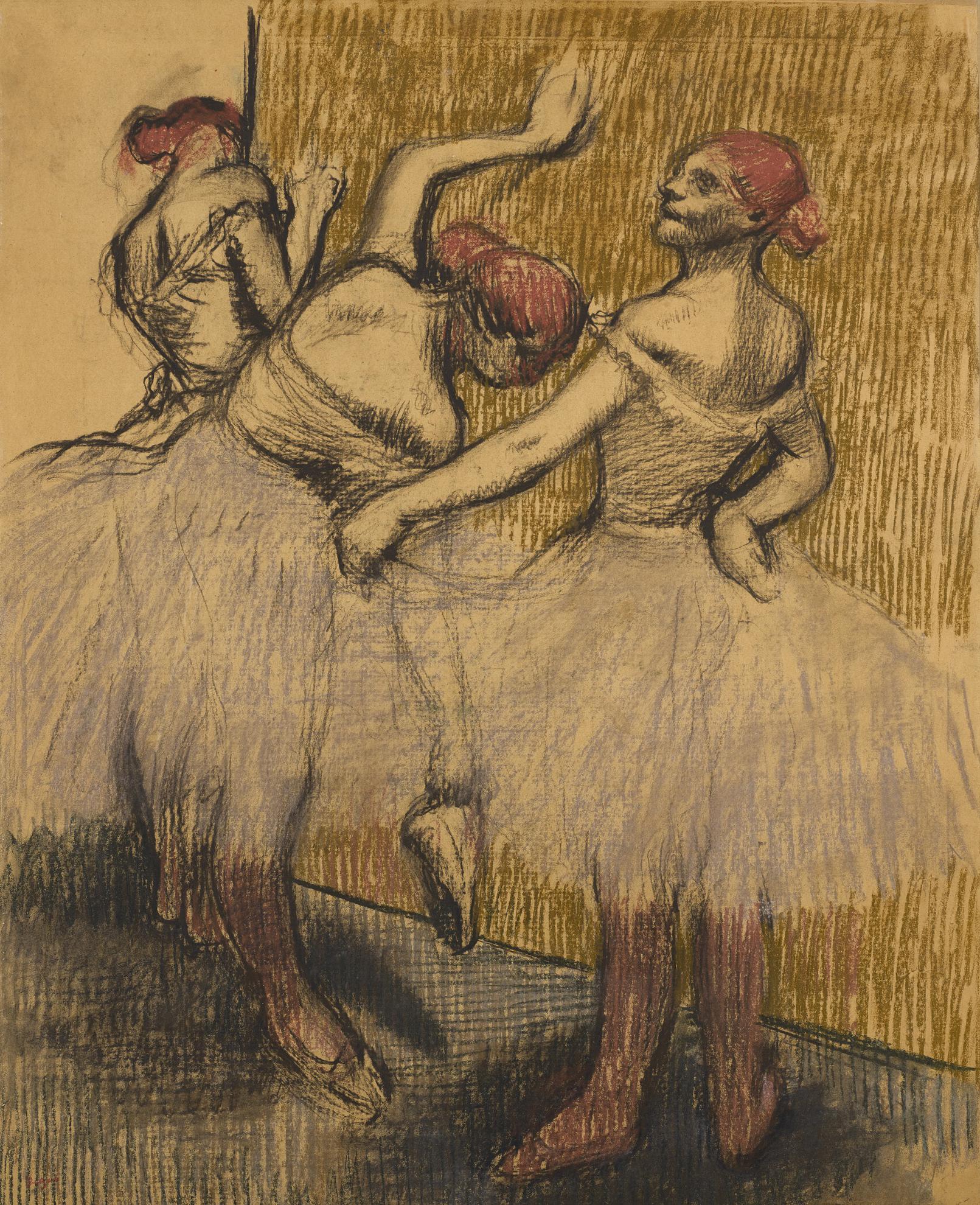 Edgar Degas-Trois Danseuses Debout Pres Dun Portant-1900