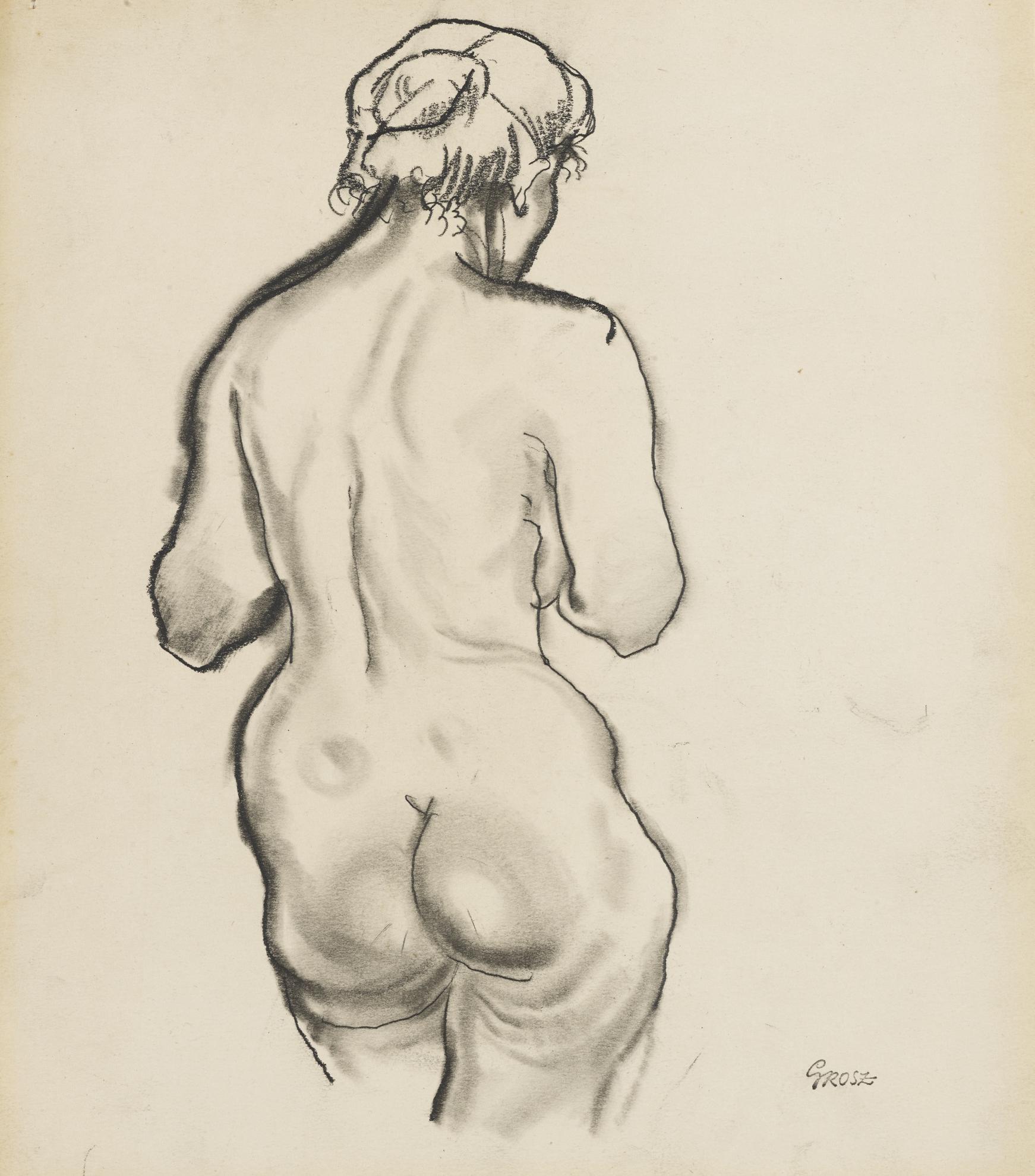 George Grosz-Weiblecher Ruckenakt (Female Nude Seen From Behind)-1915