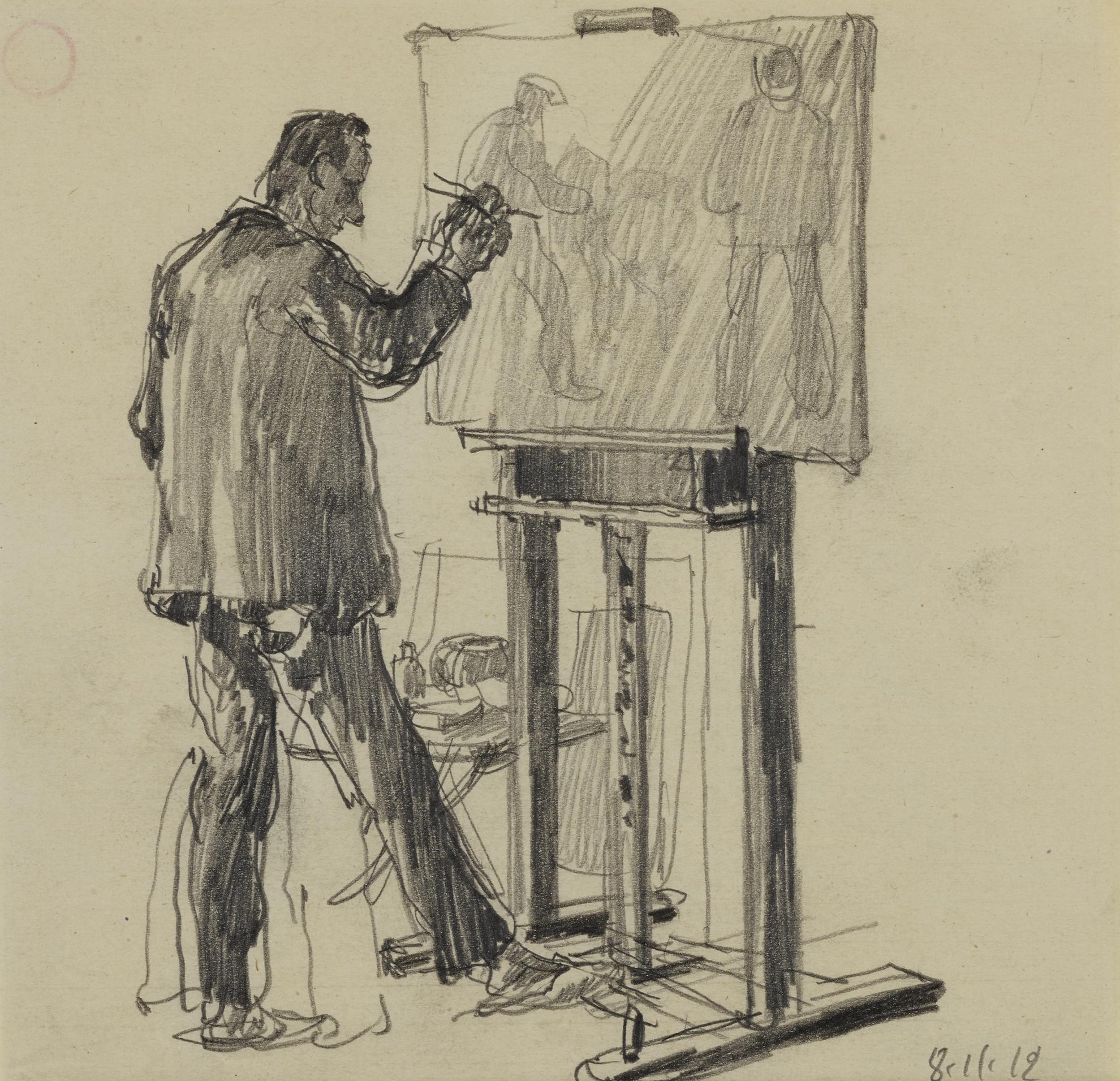 George Grosz-Studio Berlin Sudende-Herbert Fiedler An Der Staffelei (Studio Berlin Sudende—Herbert Fiedler At The Easel)-1912