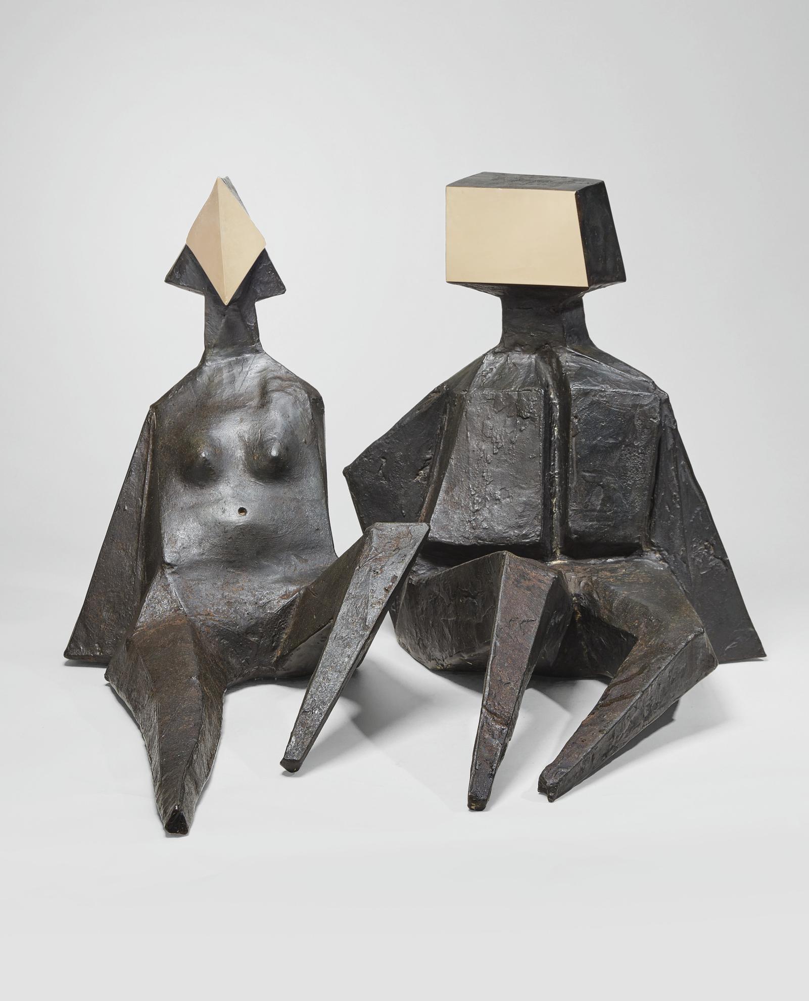 Lynn Chadwick-Pair Of Sitting Figures V-1973