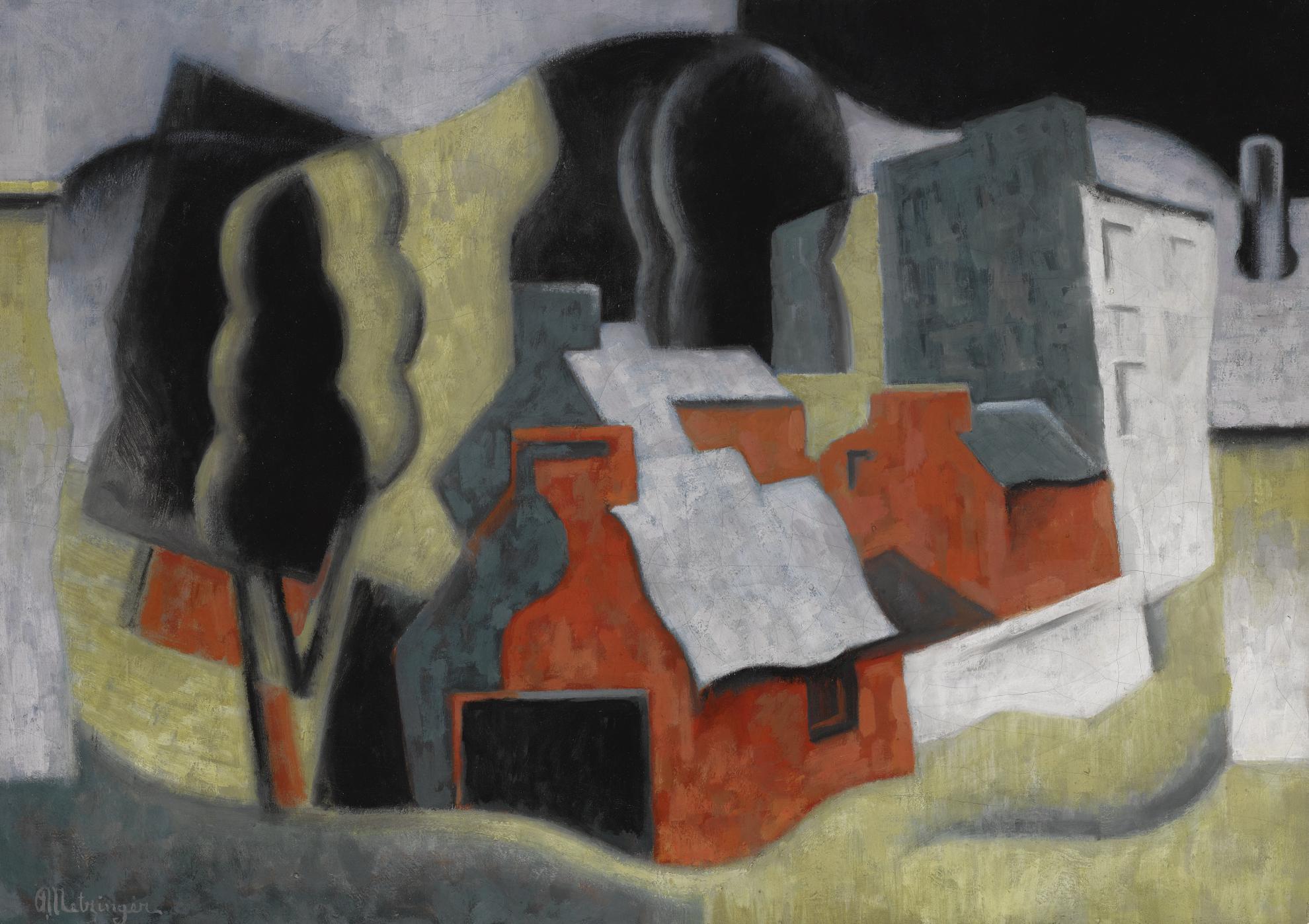 Jean Metzinger-Paysage Avec Arbre Et Maisons-1921