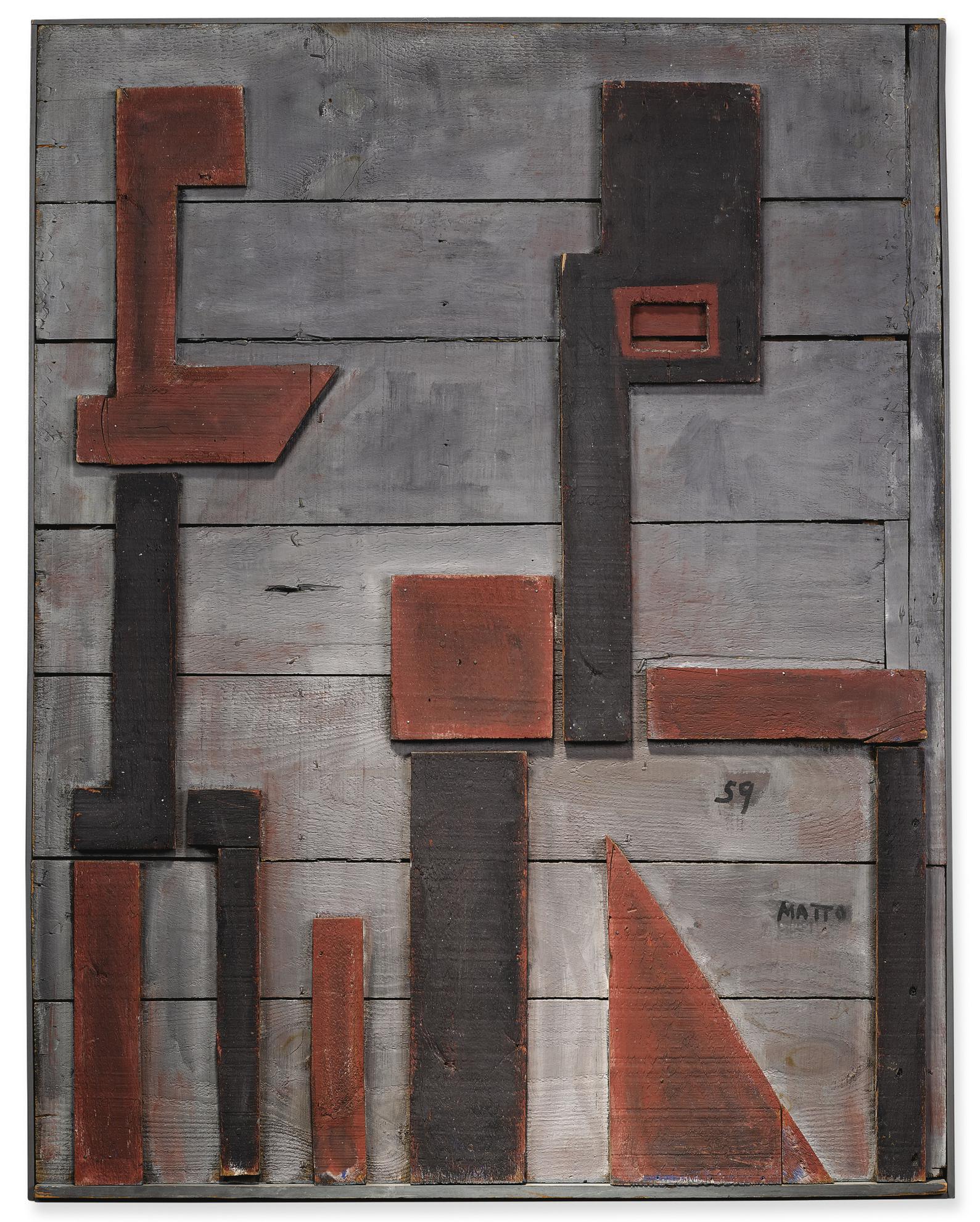 Francisco Matto - Dos Formas En Rojo Con Fondo Gris-1959