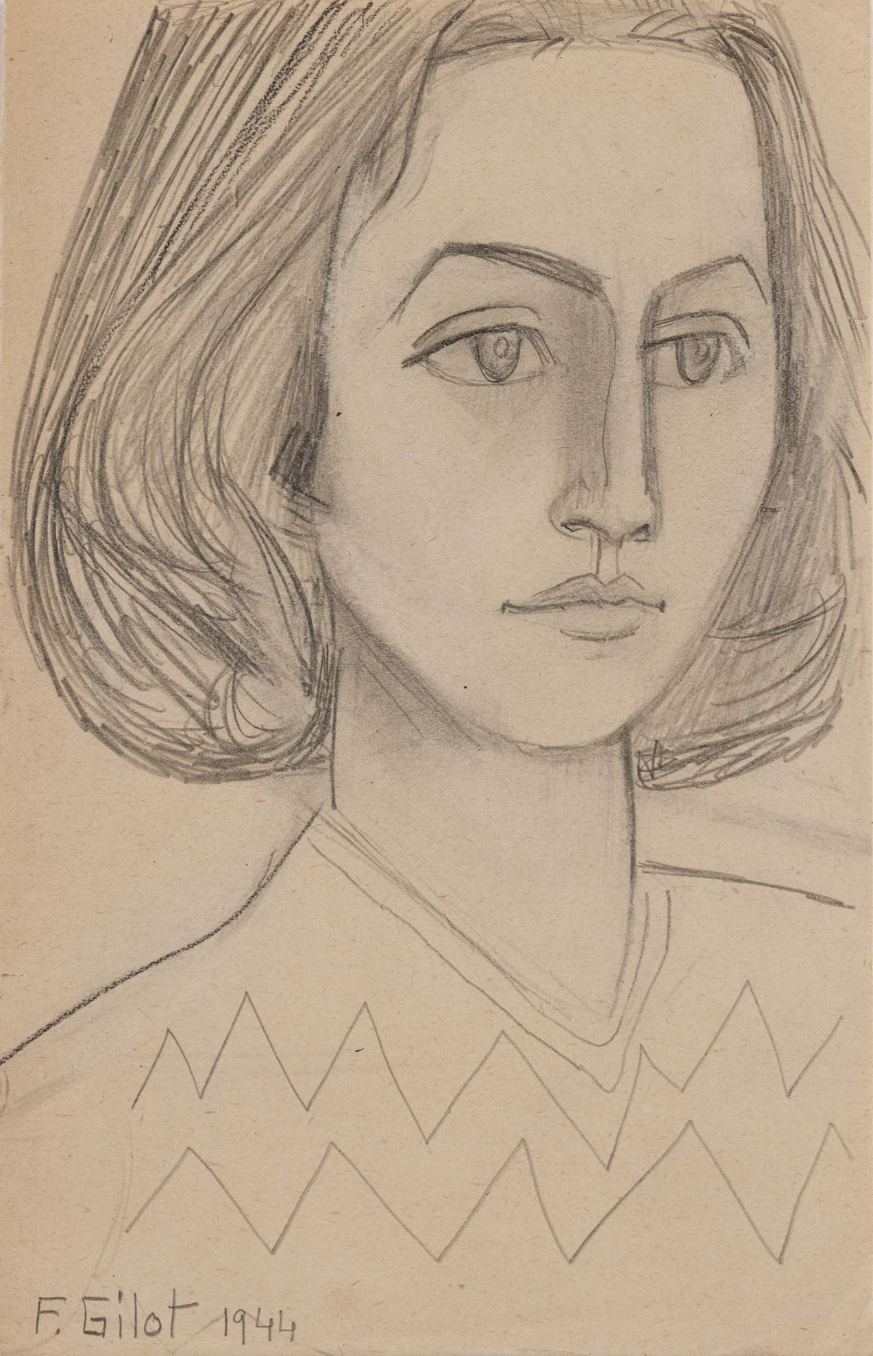 Francoise Gilot-Self-Portrait With Self Made Sweater II-1944