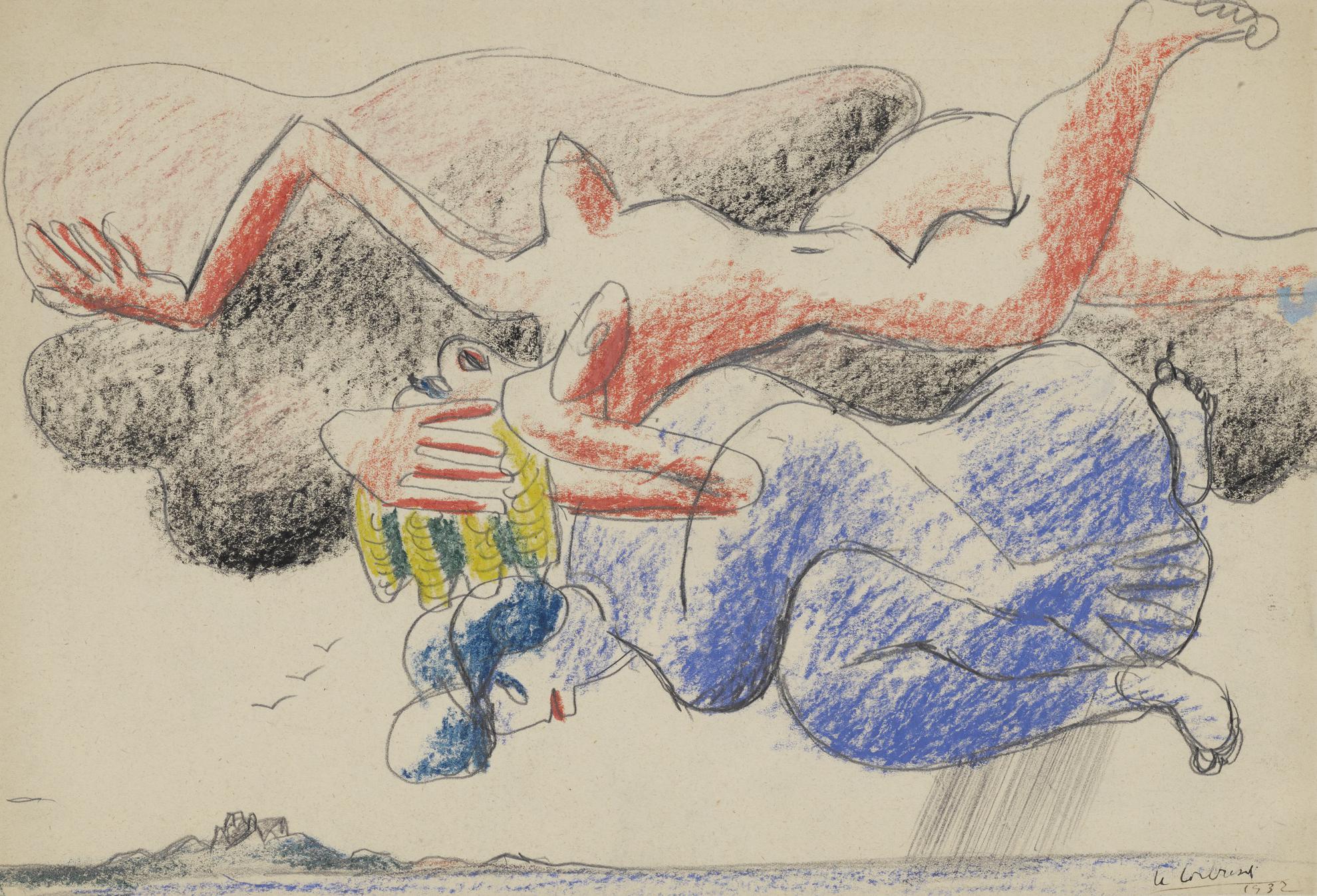 Le Corbusier-Femmes Nuages Rose Et Bleue-1932