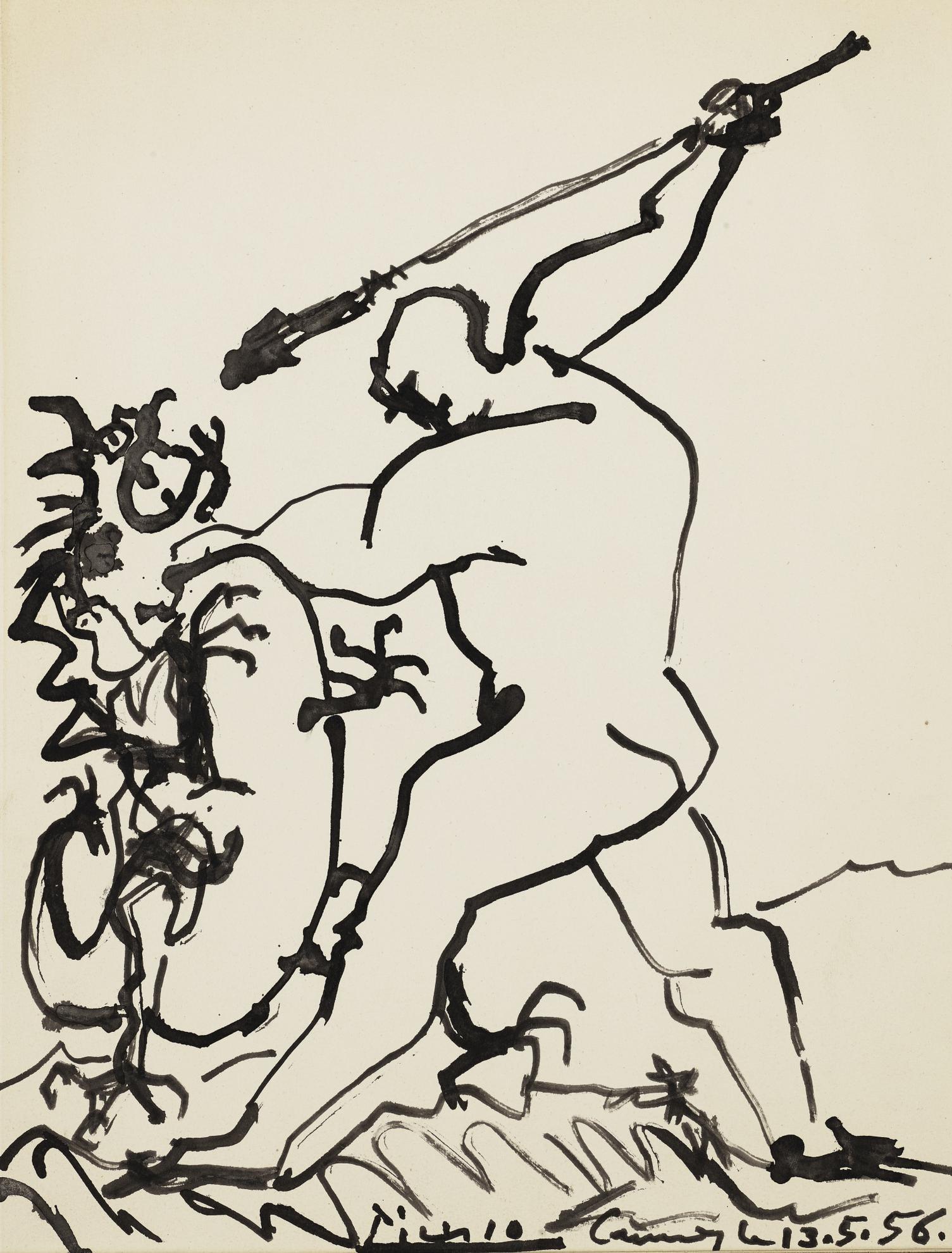 Pablo Picasso-Homme Terrassant Un Dragon-1956