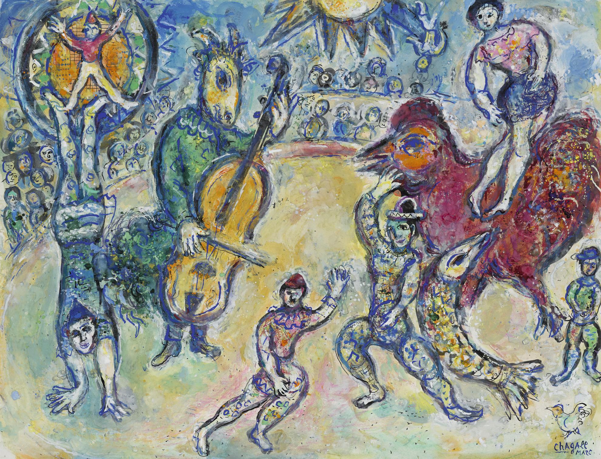 Marc Chagall-Lane Au Violoncelle Ou Cirque Au Soleil Ou Variante Du Cirque Sur Fond Noir-1969