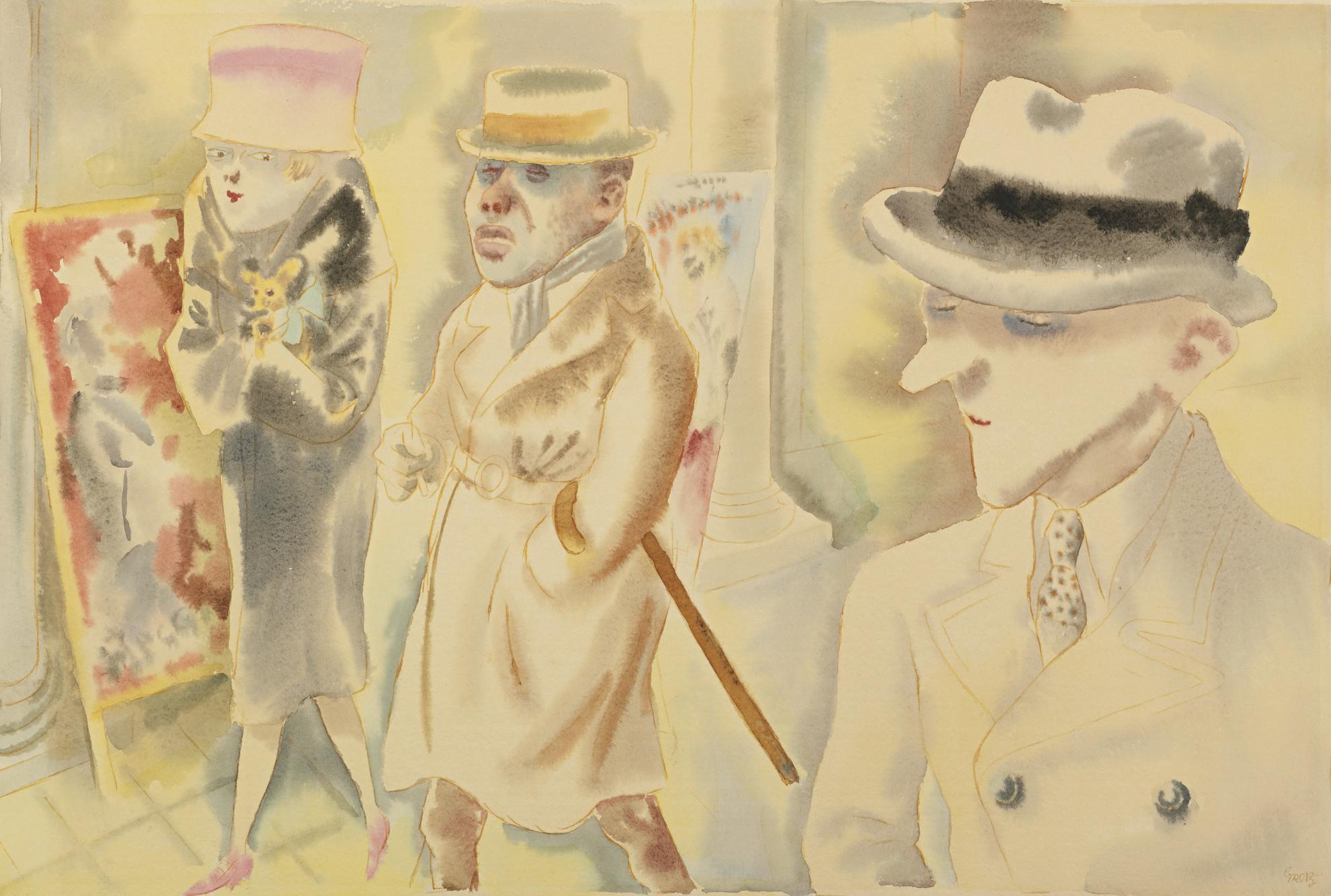 George Grosz-Strassenszene, Berlin, Jugendzeit, Quallen (Street Scene, Berlin, Youth, Urchin)-1925