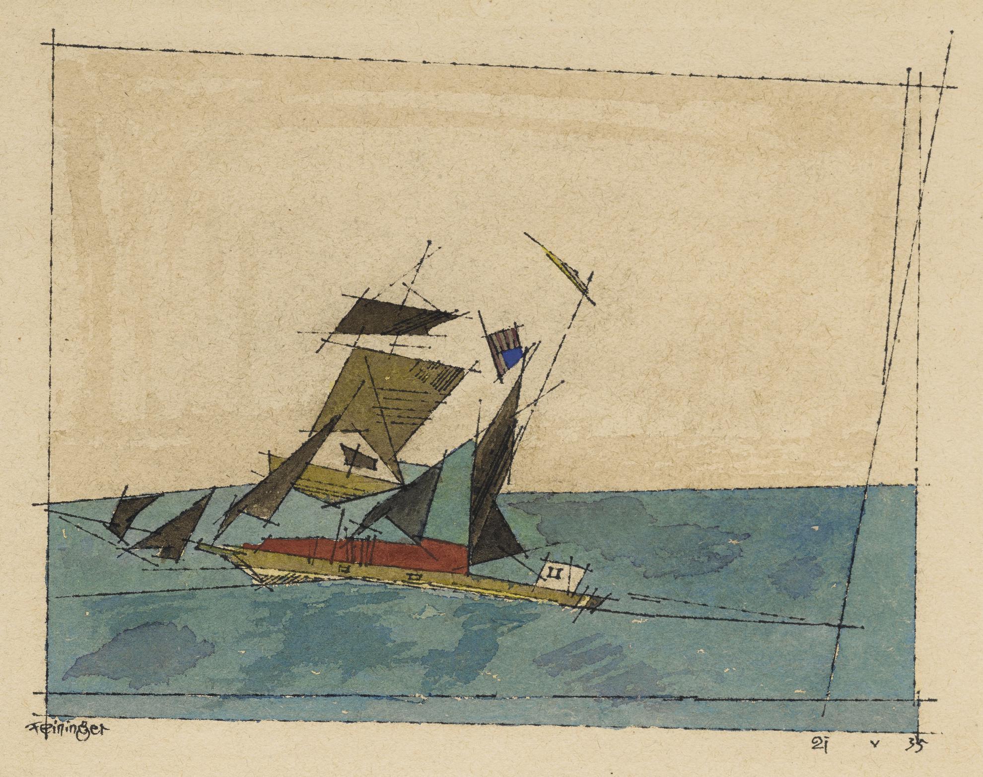 Lyonel Feininger-Sailing Ship-1935