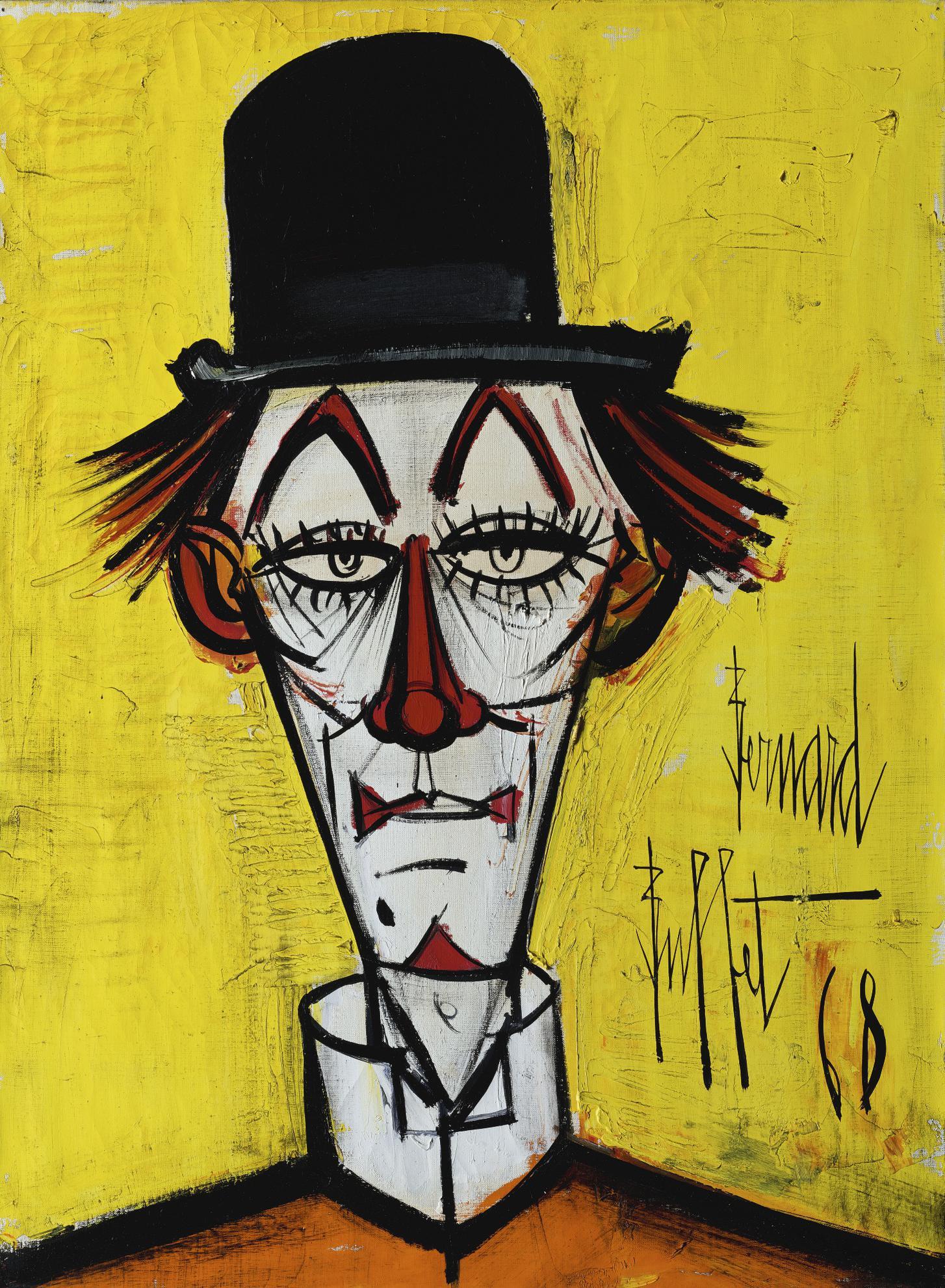 Bernard Buffet-Tete De Clown Au Chapeau Melon Fond Jaune-1968