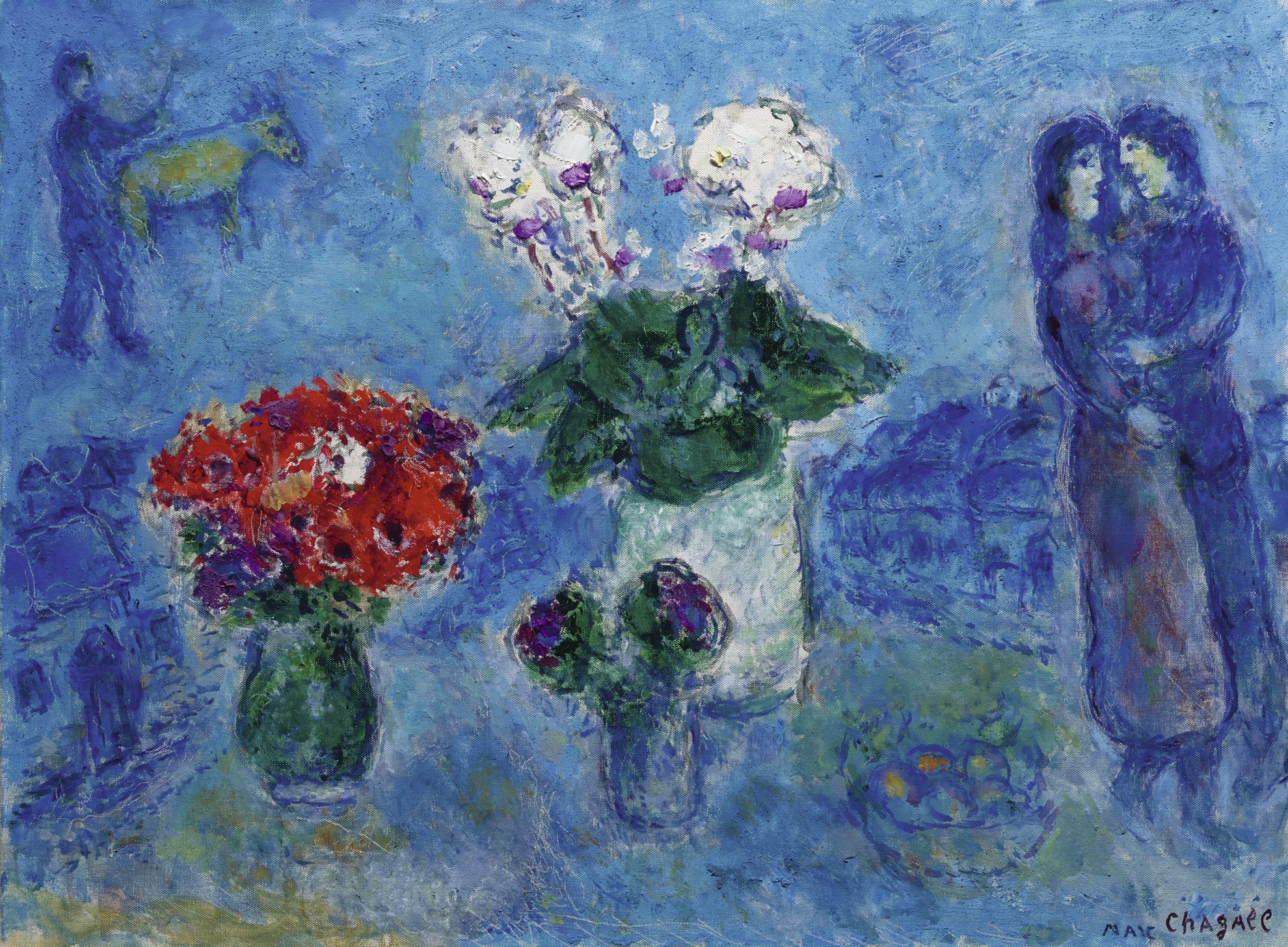 Marc Chagall-Les Amoureux Aux Trois Bouquets-1980