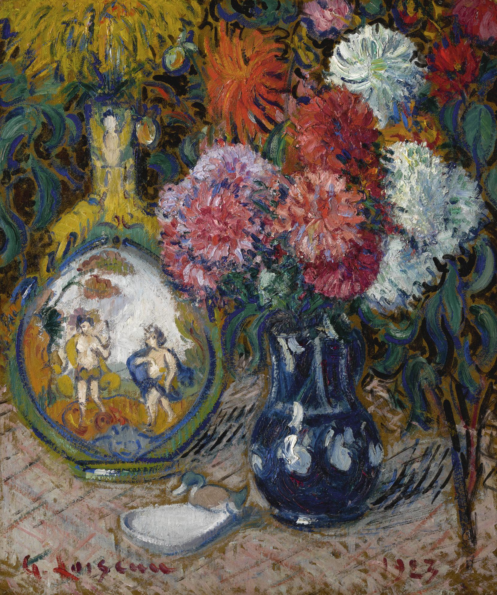 Gustave Loiseau-Vase De Fleurs Et Objets Varies-1923