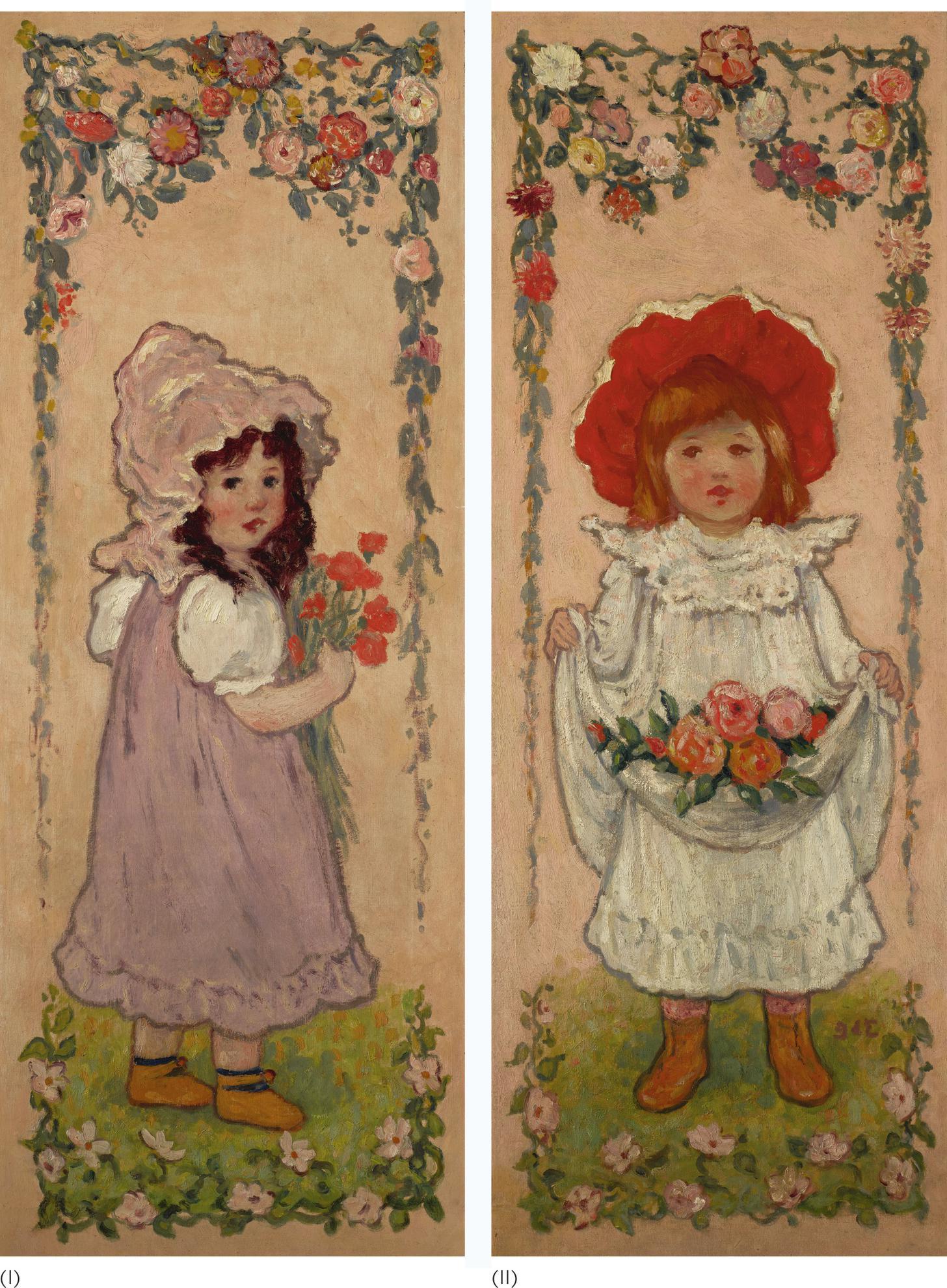 Georges d'Espagnat-Les Petites Bouquetieres: A Pair-1899