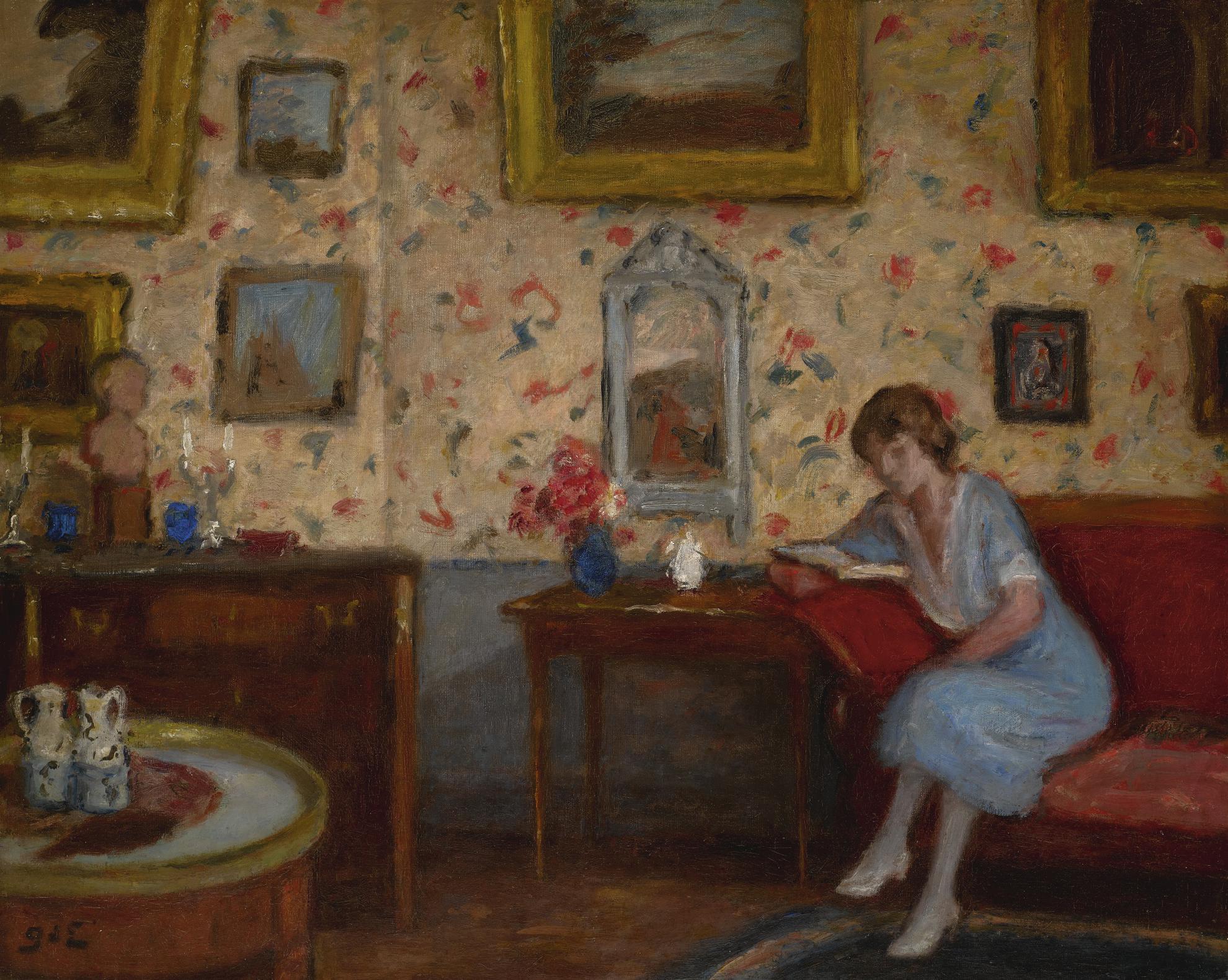 Georges d'Espagnat-Femme Lisant Dans Un Interieur-