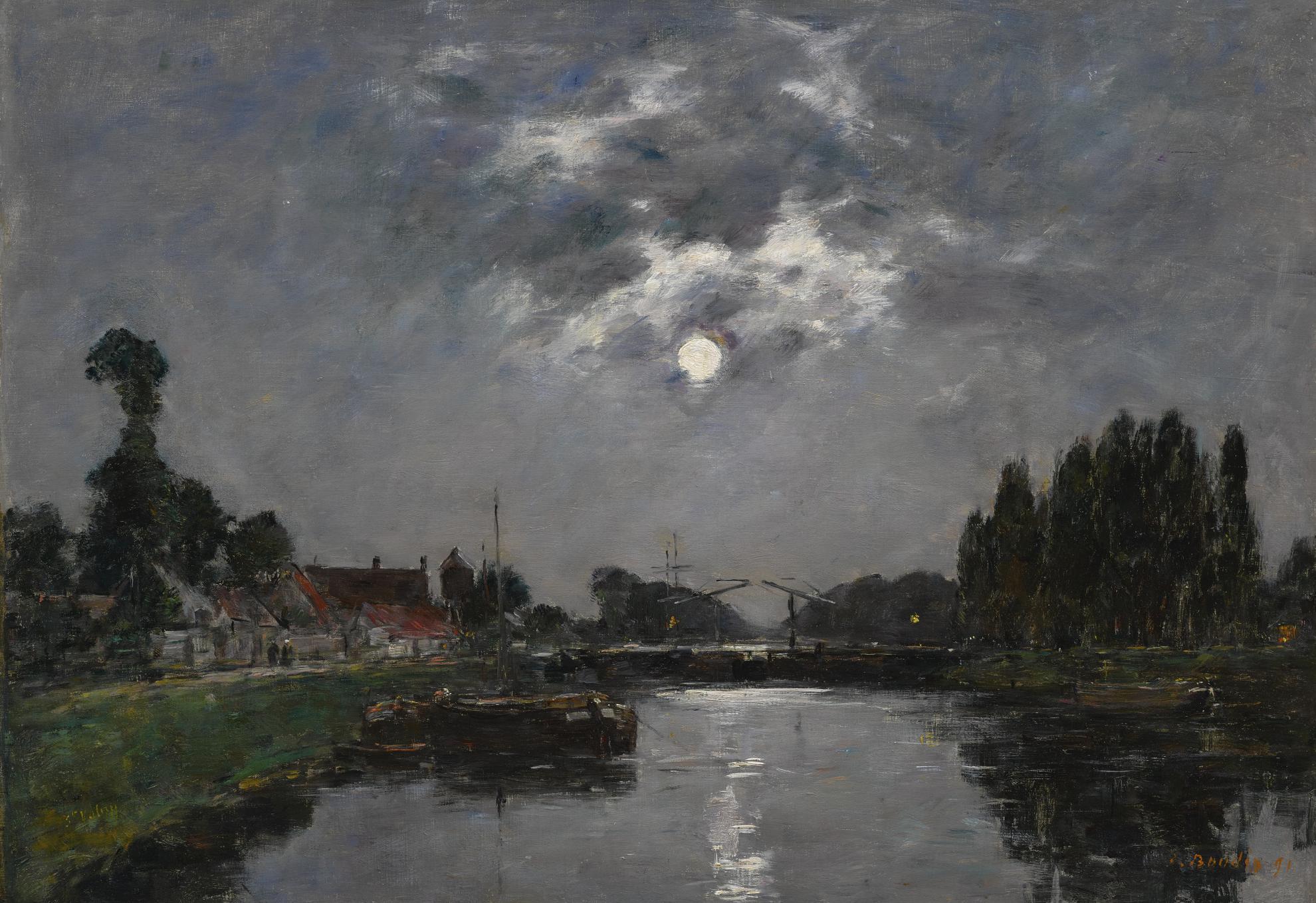 Eugene Louis Boudin-Saint-Valery-Sur-Somme, Lever De Lune Sur Le Canal-1891