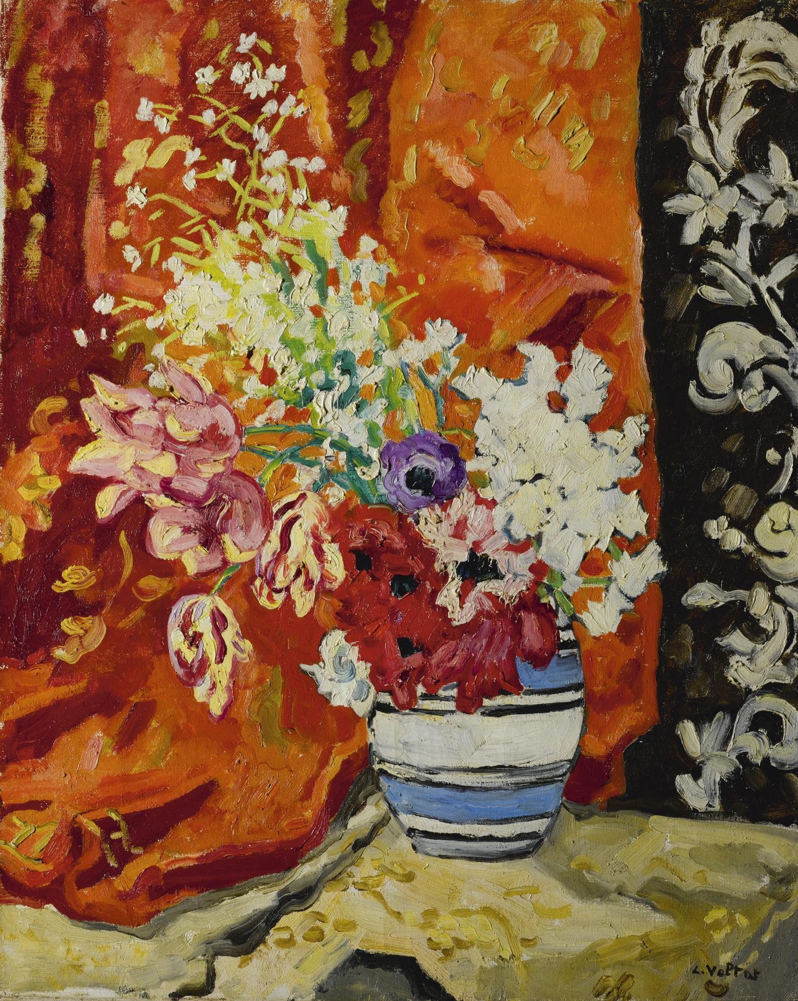 Louis Valtat-Anemones Et Tulipes A La Tenture Rouge Et Noire-1930