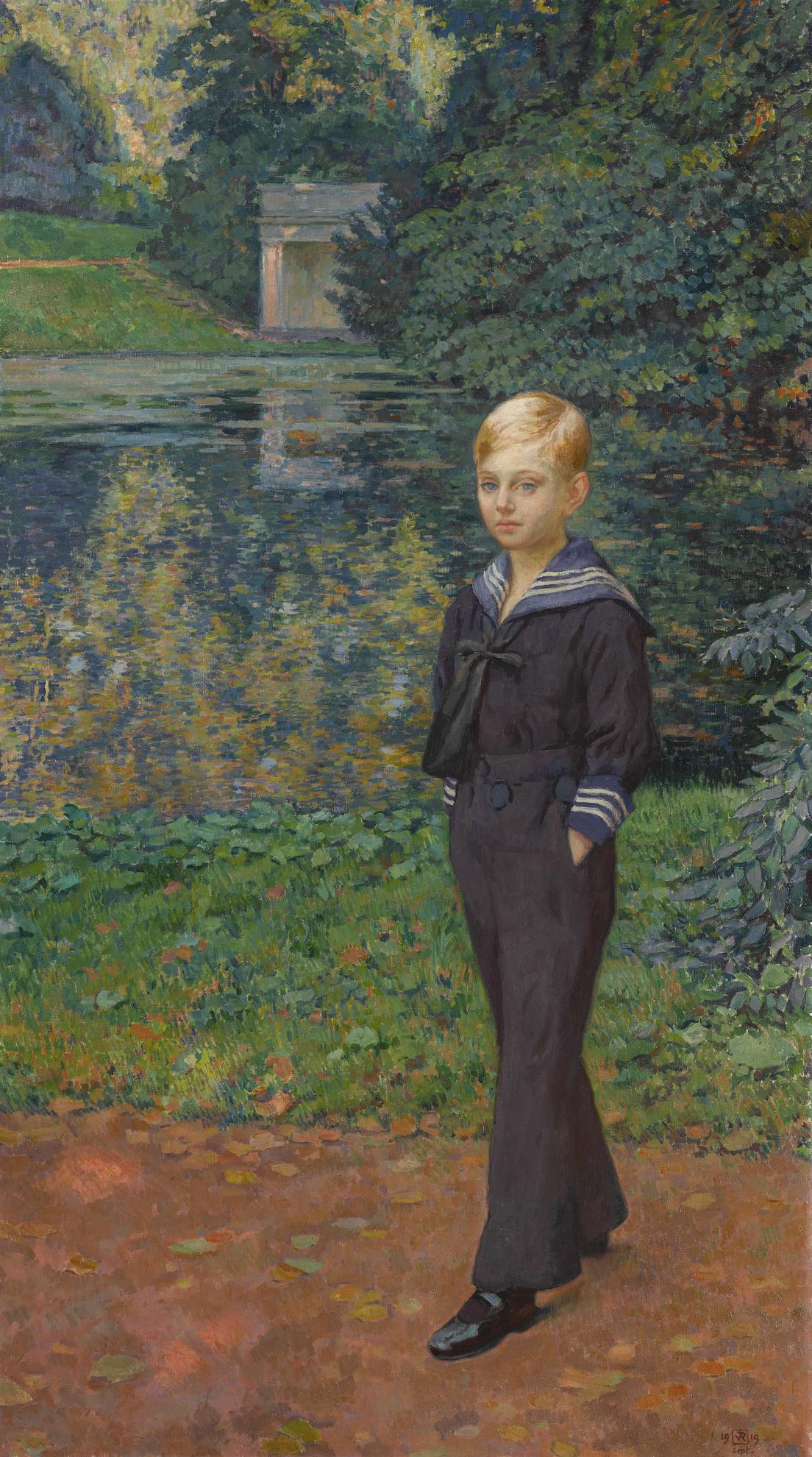 Theo van Rysselberghe-Portrait De Claude Stevens En Marin, Au Jardin-1919
