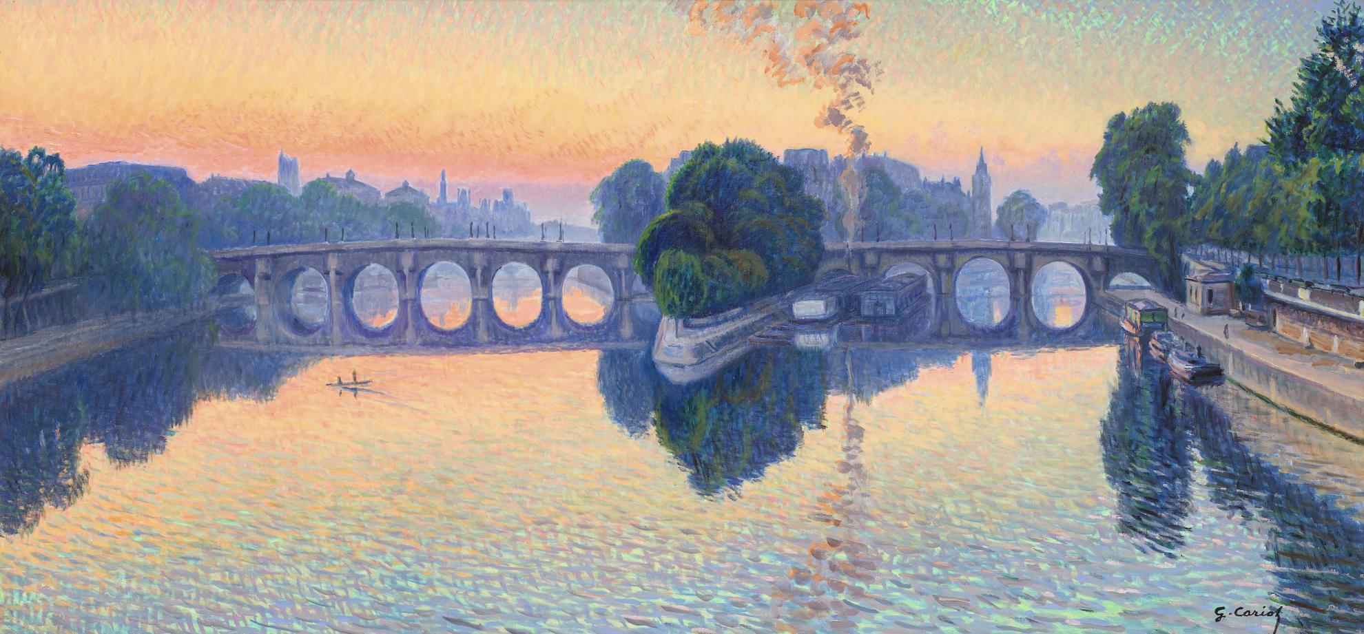 Gustave Cariot-La Seine A Paris, Soleil Levant Sur Le Pont-Neuf-1941