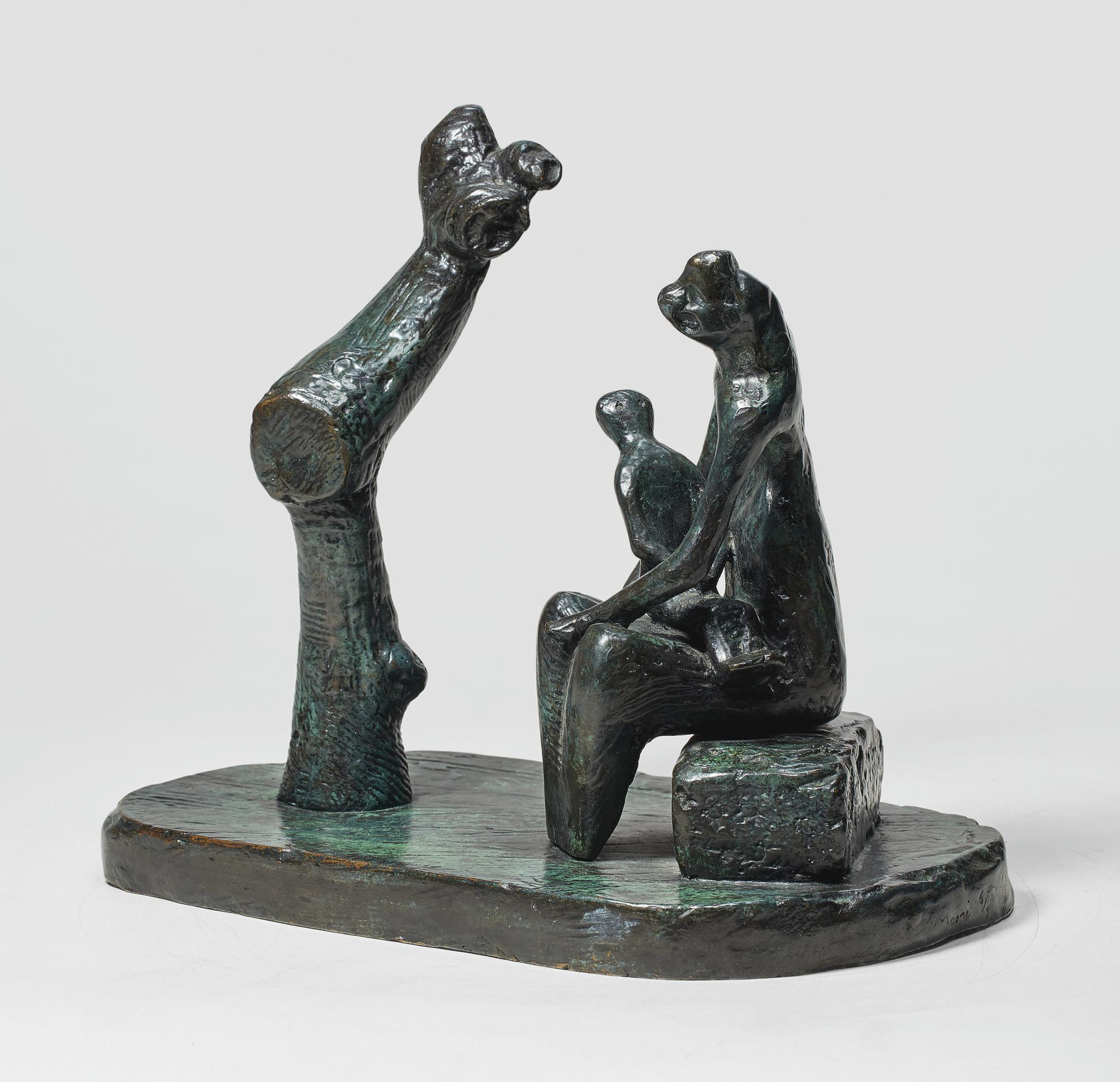 Henry Moore-Mother And Child With Tree Trunk-1979