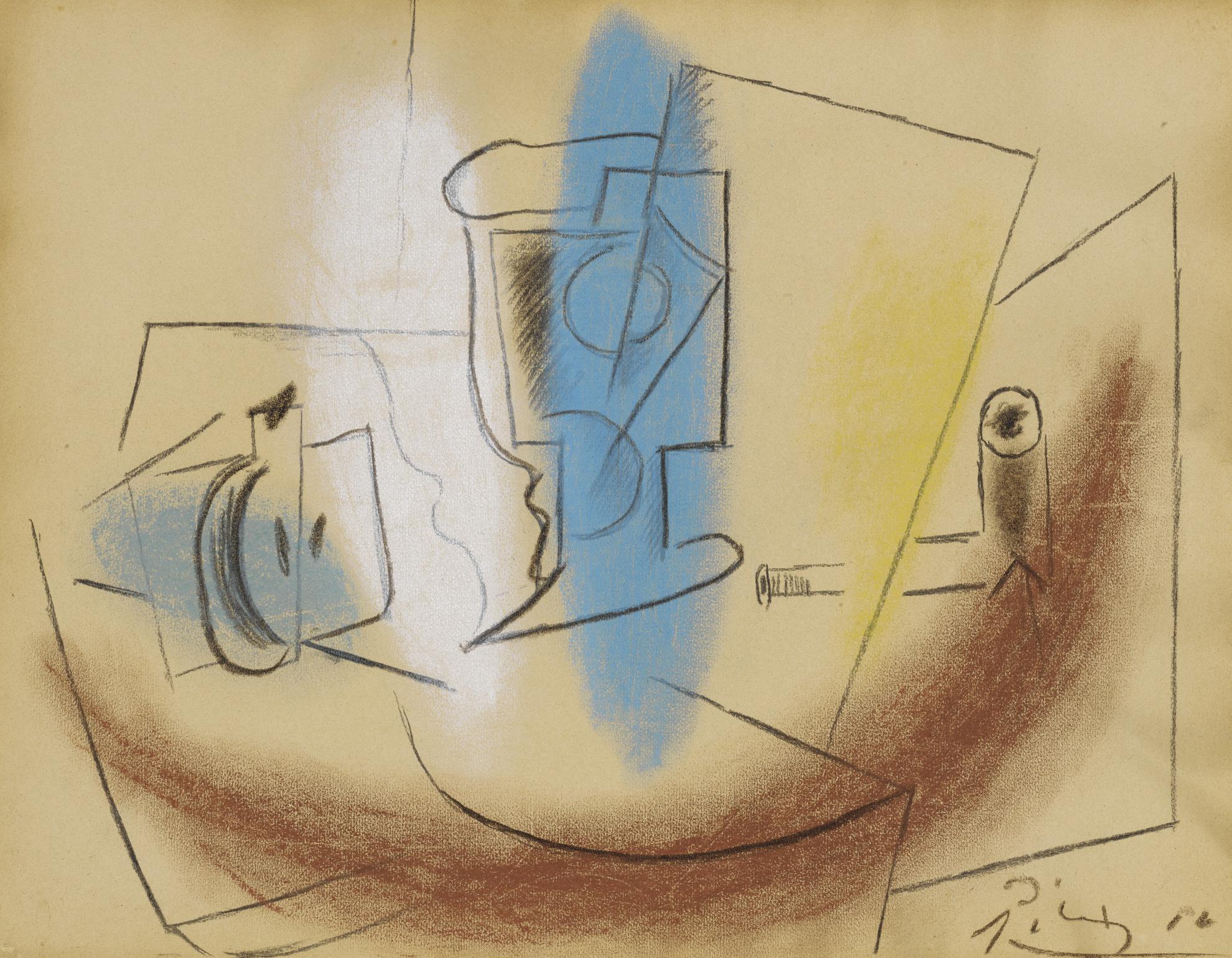 Pablo Picasso-Poire Coupee, Verre Et Pipe-1914