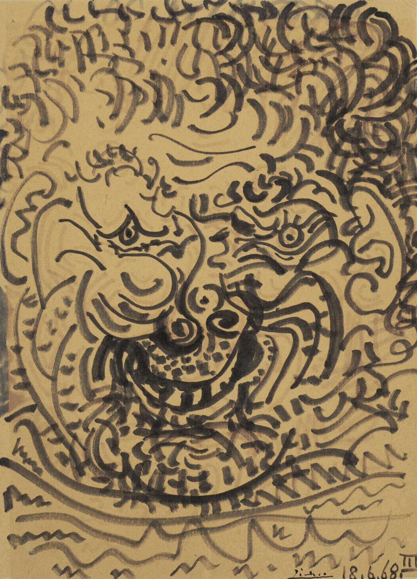 Pablo Picasso-Tete Dhomme Barbu-1968