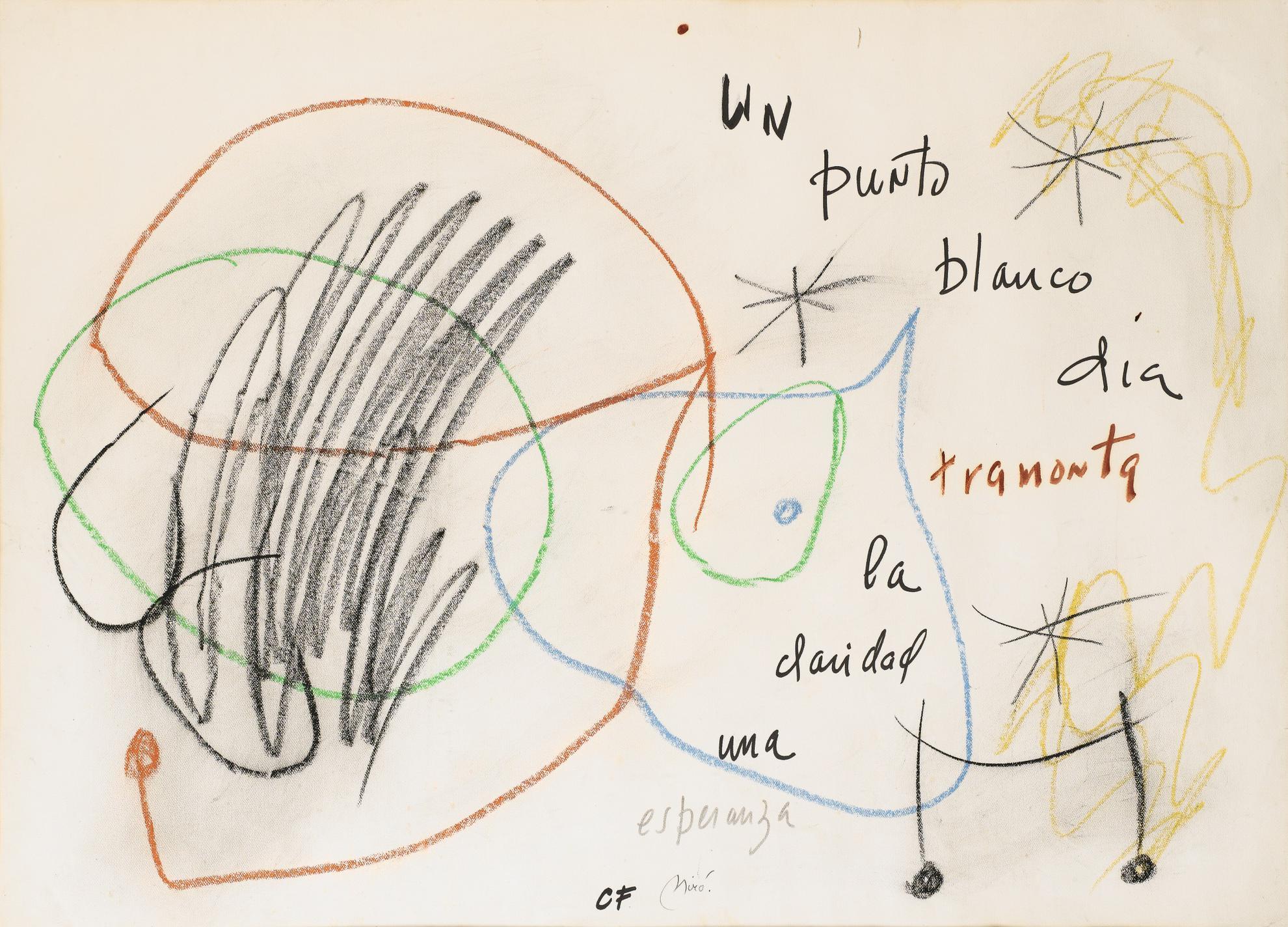 Joan Miro-Sans Titre (Composition Avec Un Poeme De Carlos Franqui)-1976
