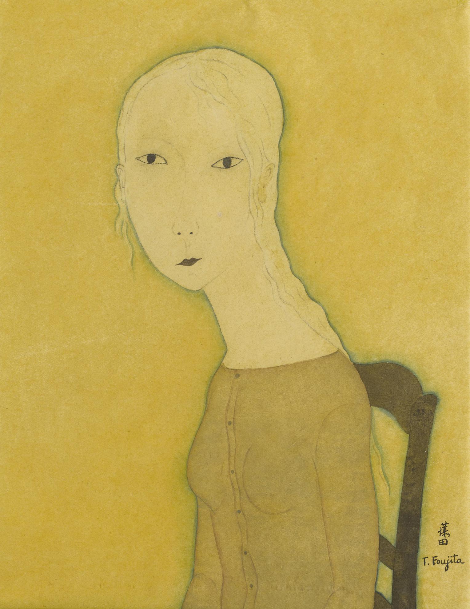 Tsuguharu Foujita-Jeune Fille A La Chaise-1917