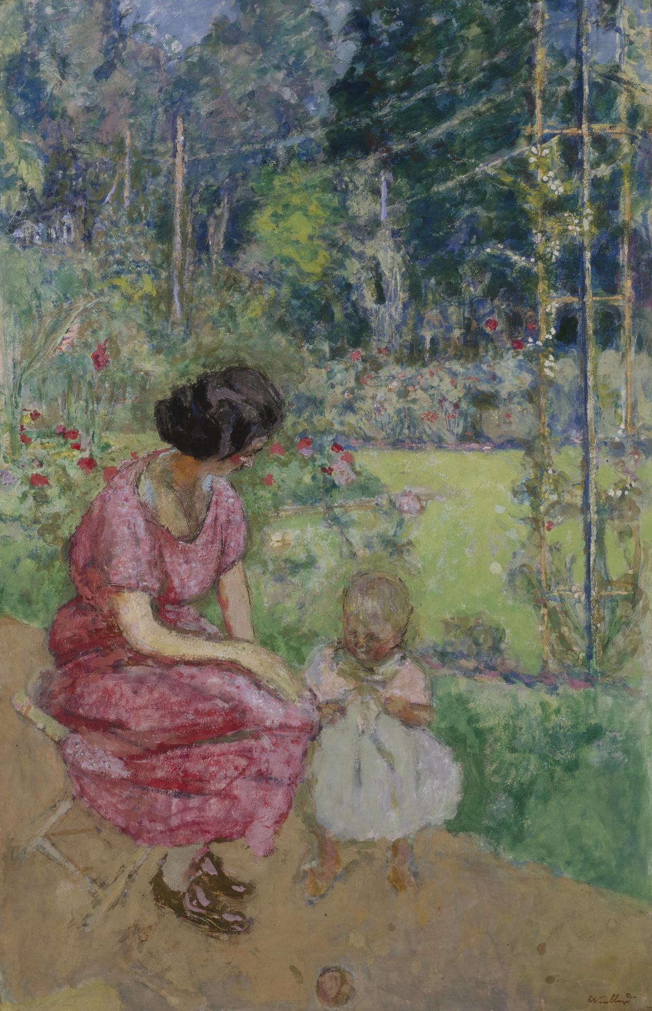 Edouard Vuillard-Madeline Descorps Et Son Fils Bernard Au Jardin, Etude II-1920
