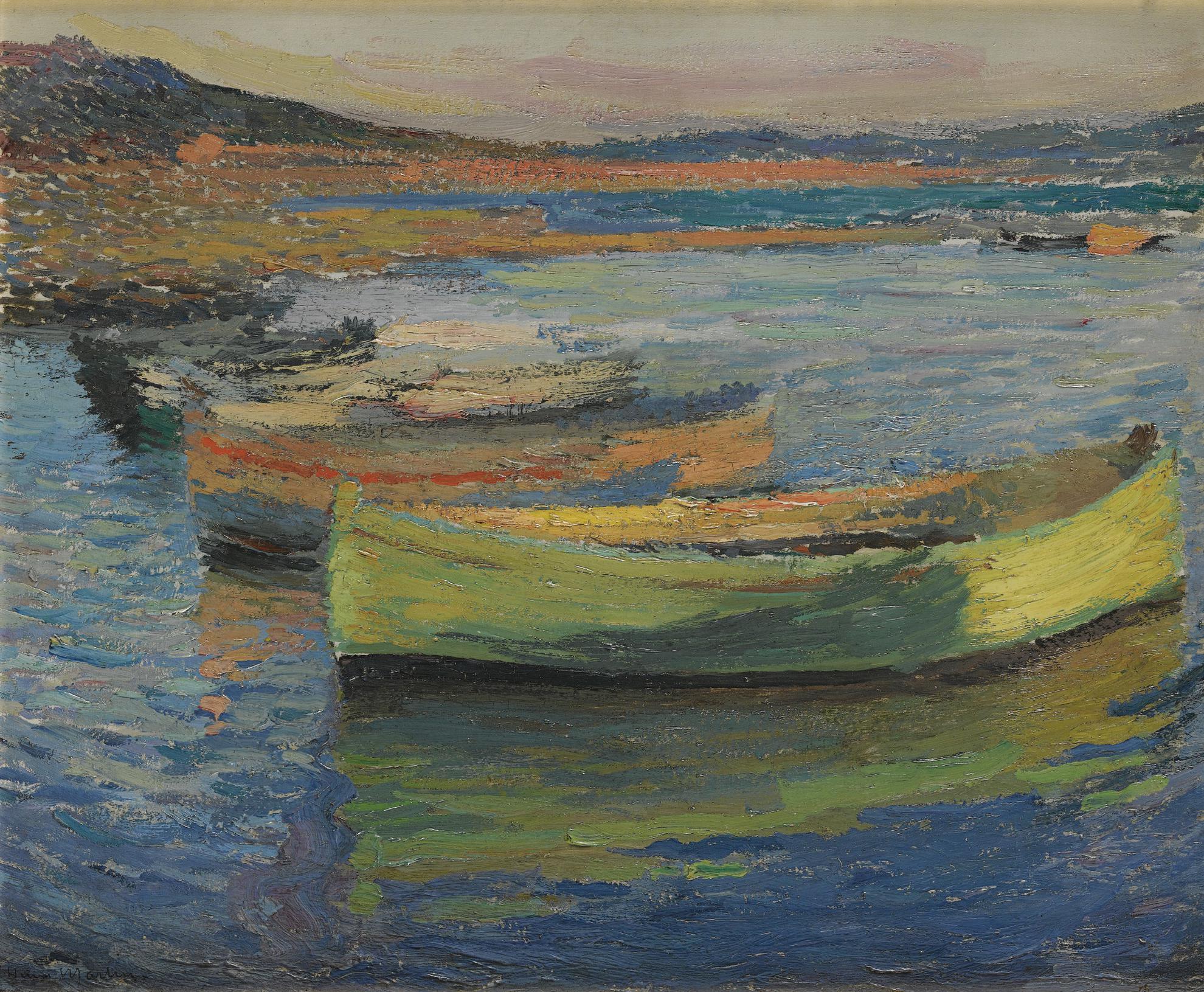 Henri Martin-Barques Aux Environs De Collioure-1910